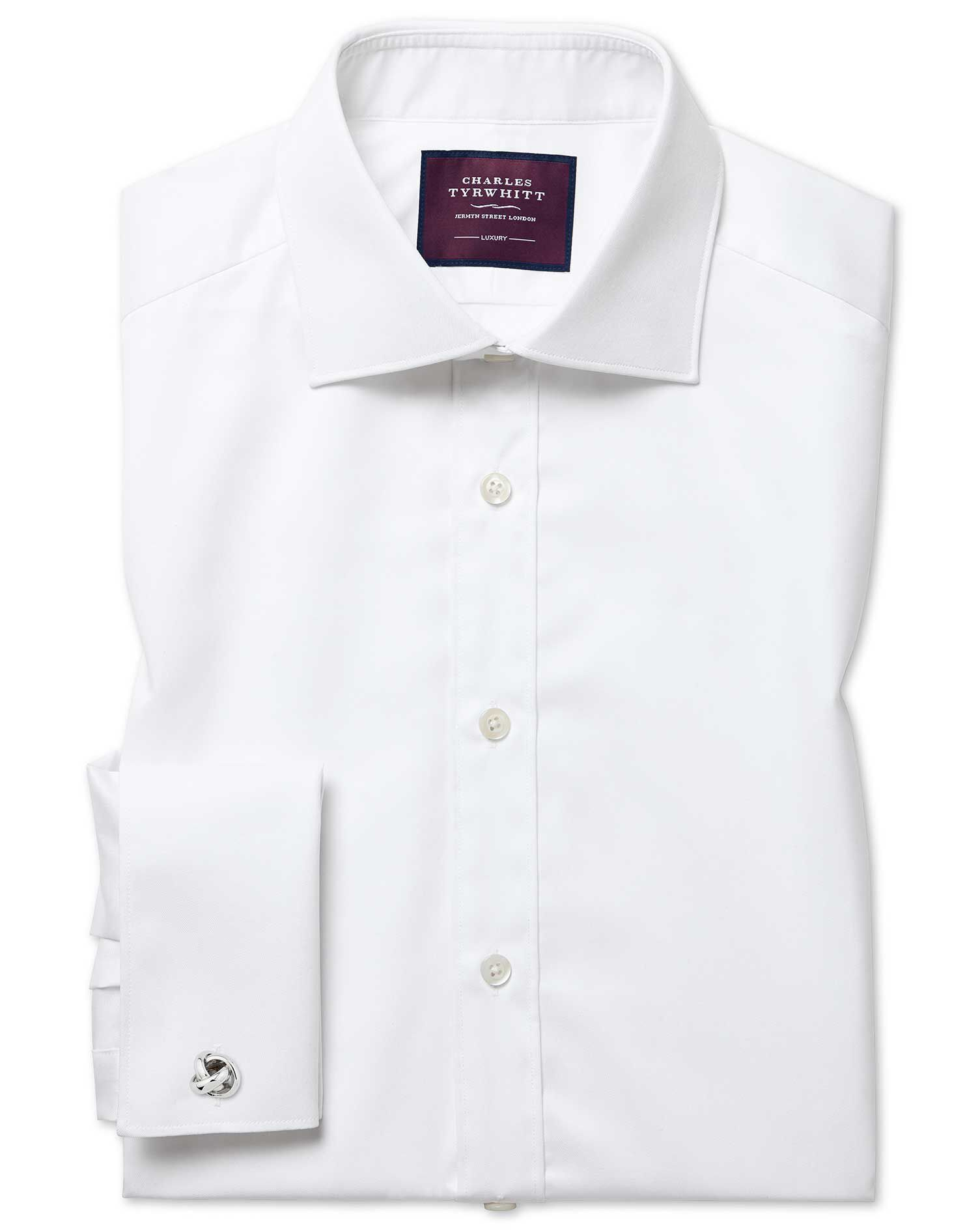 Classic Fit Semi-Cutaway Luxury Twill White Egyptian Cotton Formal Shirt Double Cuff Size 19/37 by C
