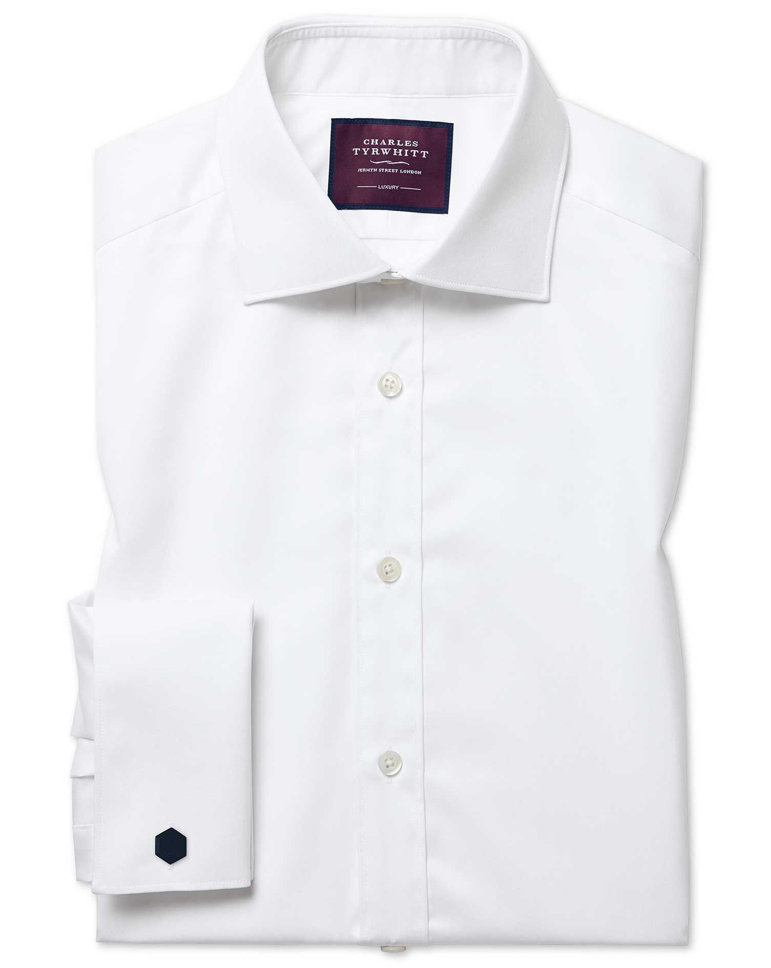 Slim Fit Semi-Cutaway Luxury Twill White Egyptian Cotton Formal Shirt Double Cuff Size 18/35 by Char