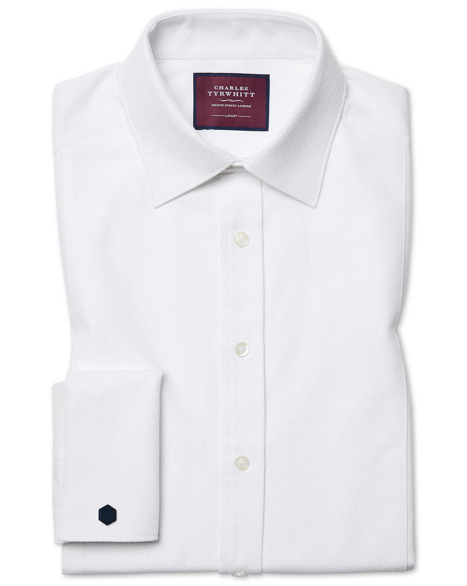Classic Fit Luxury Marcella White Evening Egyptian Cotton Formal Shirt Double Cuff Size 16/33 by Cha