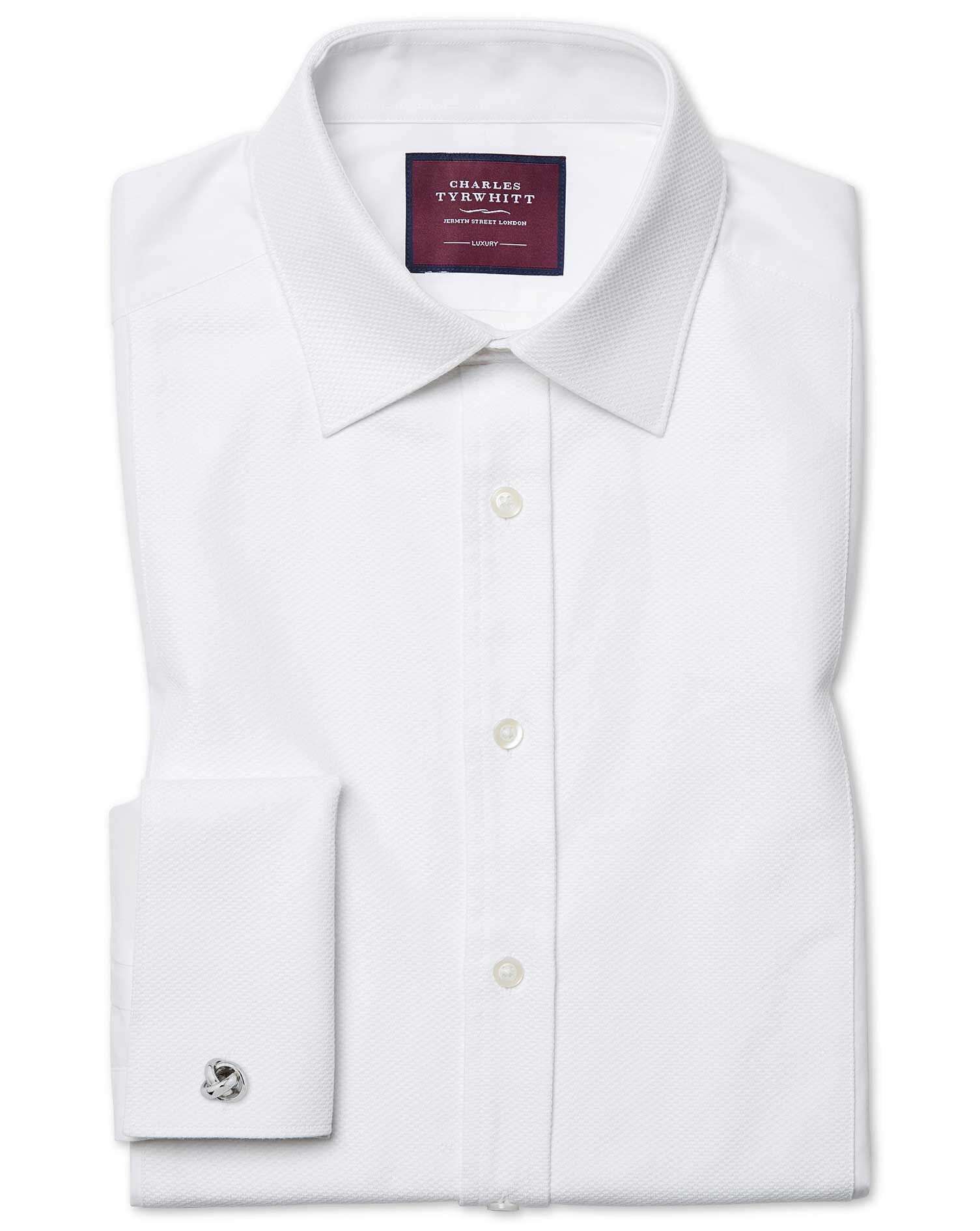 Slim Fit Luxury Marcella White Evening Egyptian Cotton Formal Shirt Double Cuff Size 18/35 by Charle