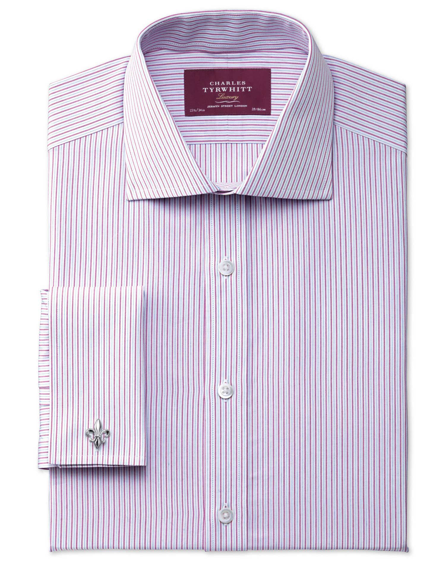 Slim Fit Semi-Cutaway Collar Luxury Poplin Pink Cotton Formal Shirt Double Cuff Size 17/34 by Charle