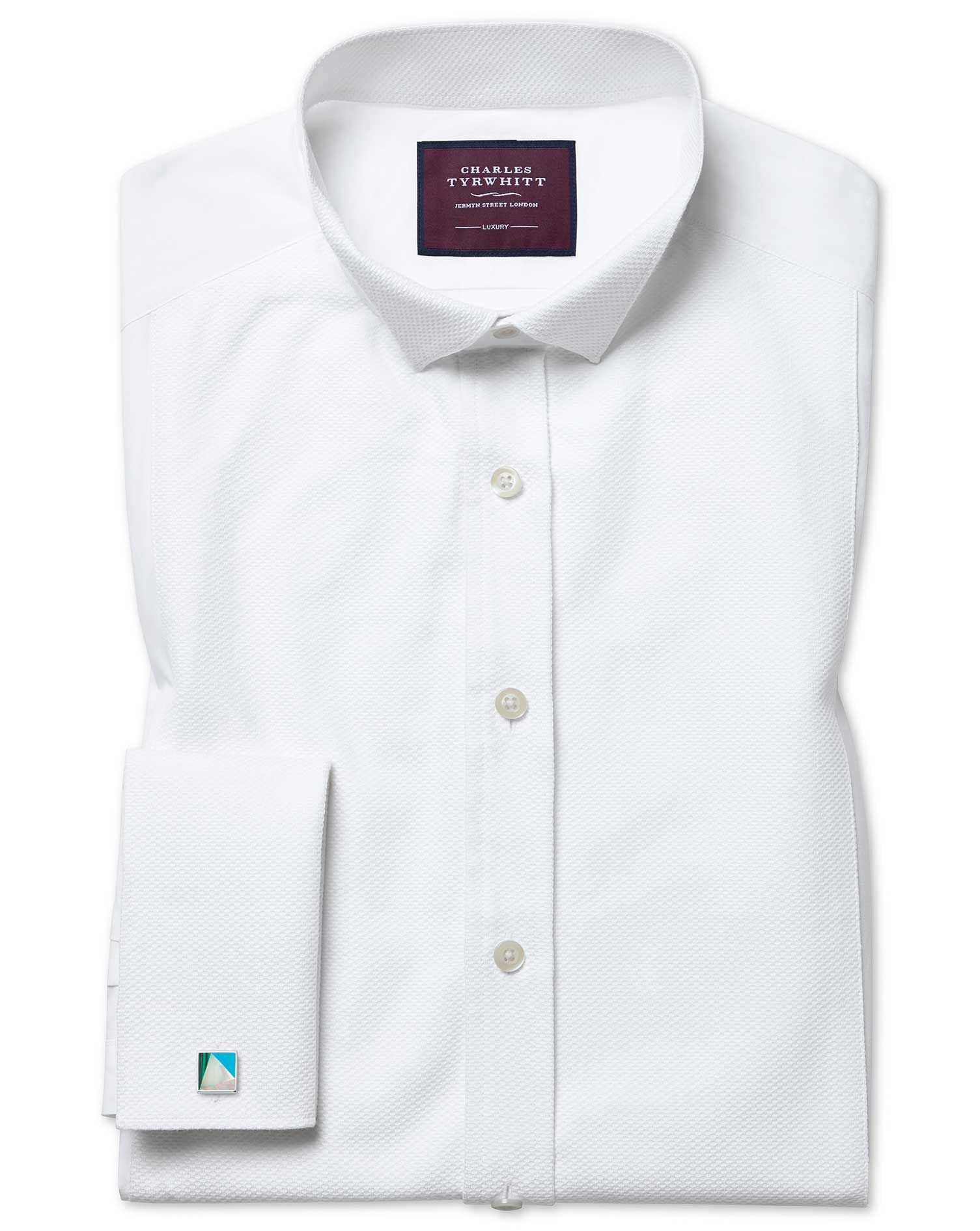 Slim Fit Wing Collar Luxury Marcella White Evening Egyptian Cotton Formal Shirt Double Cuff Size 16.