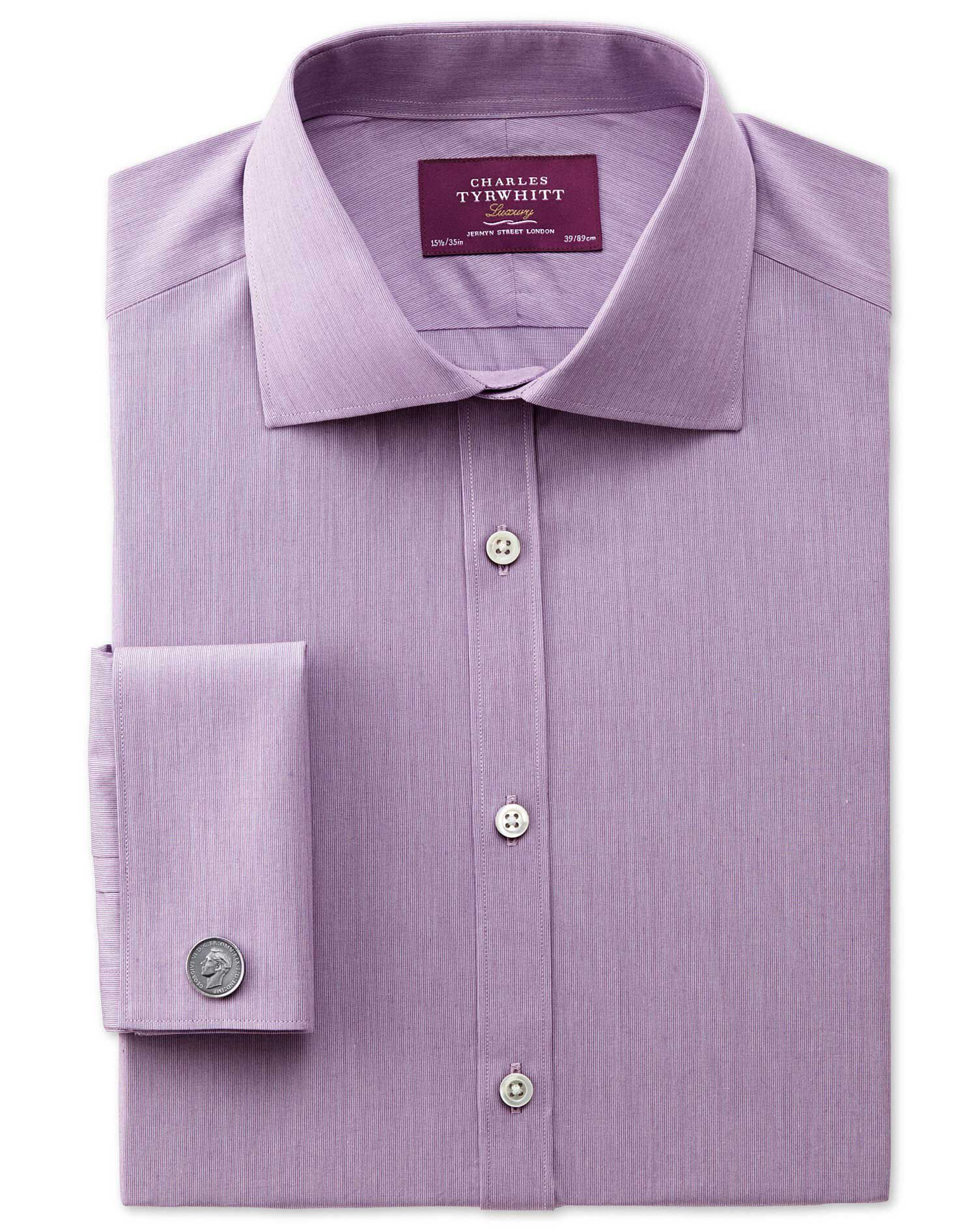 Extra Slim Fit Semi-Cutaway Collar Luxury Poplin Lilac Cotton Formal Shirt Double Cuff Size 14.5/33
