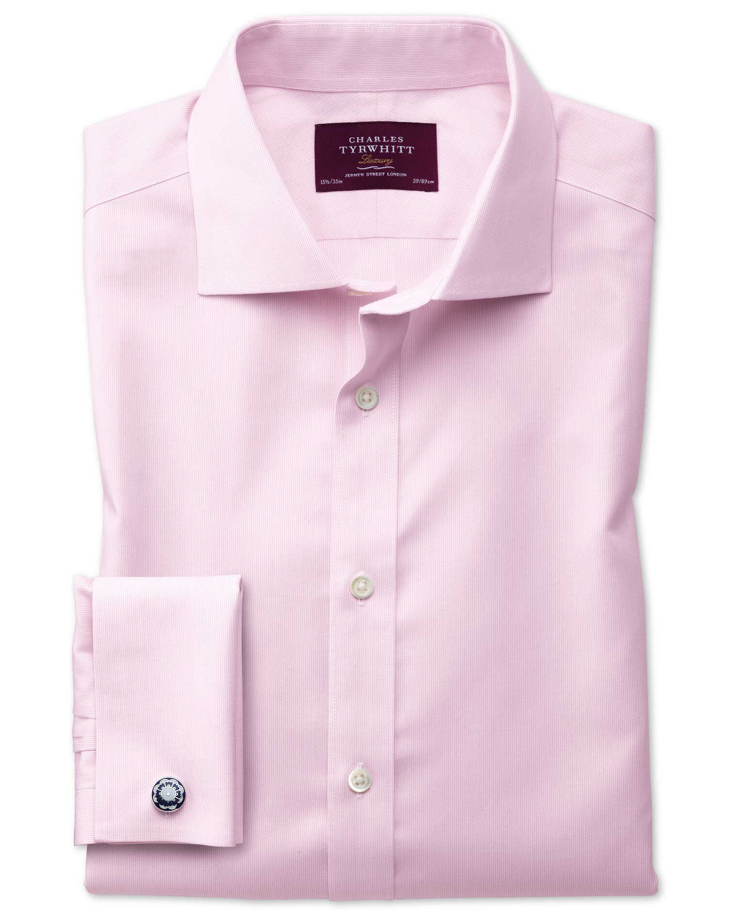 Slim Fit Non-Iron Semi-Cutaway Collar Luxury Stripe Pink Cotton Formal Shirt Double Cuff Size 15.5/3