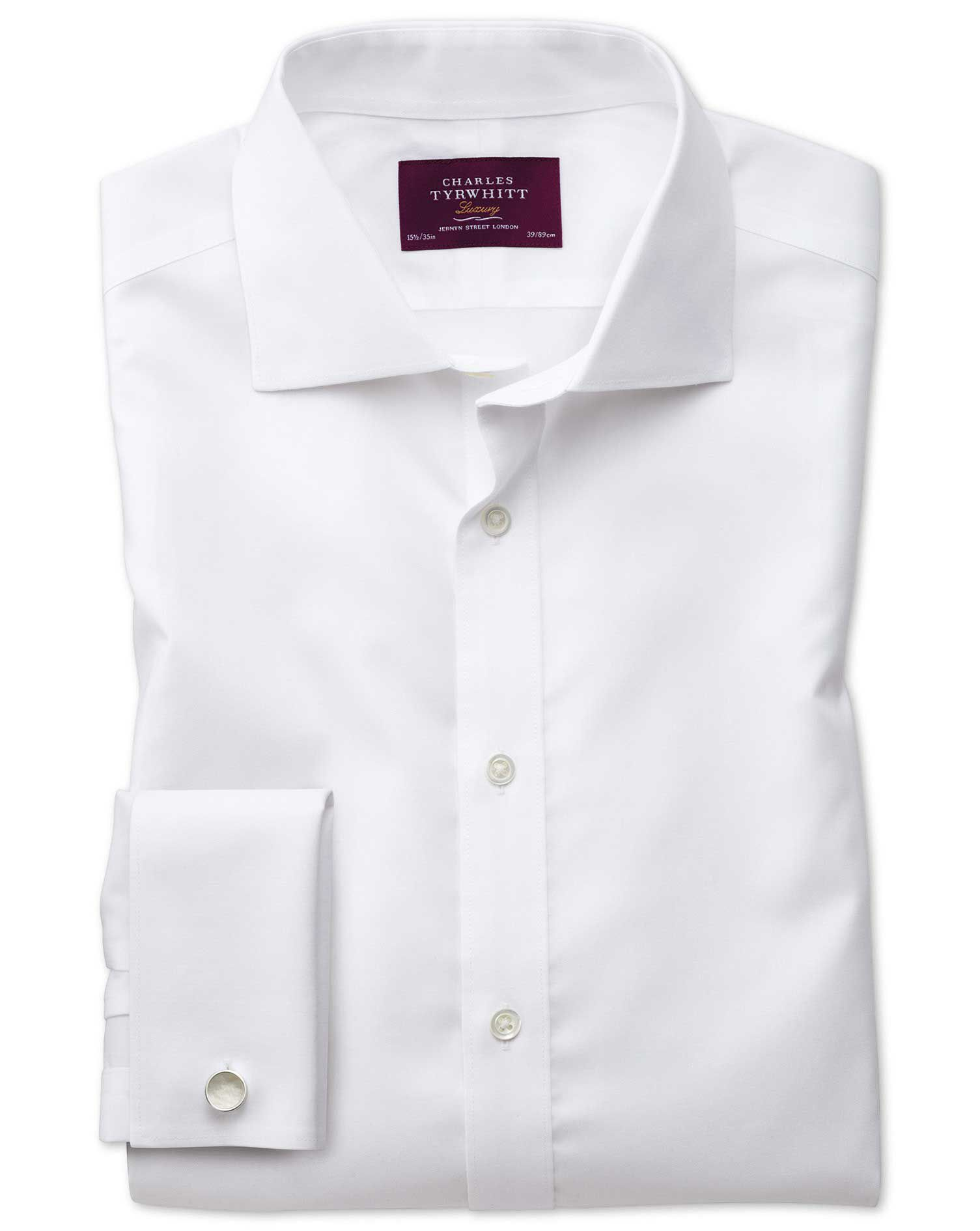 Slim Fit Semi-Cutaway Non-Iron Luxury White Cotton Formal Shirt Double Cuff Size 16/36 by Charles Ty