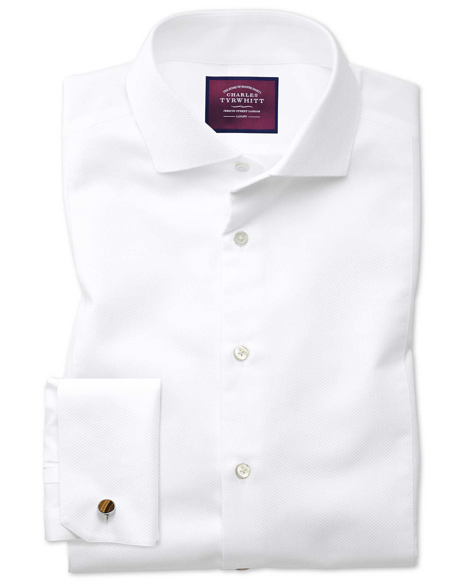 Slim Fit Cutaway Non-Iron Luxury White Cotton Formal Shirt Double Cuff Size 16/34 by Charles Tyrwhit