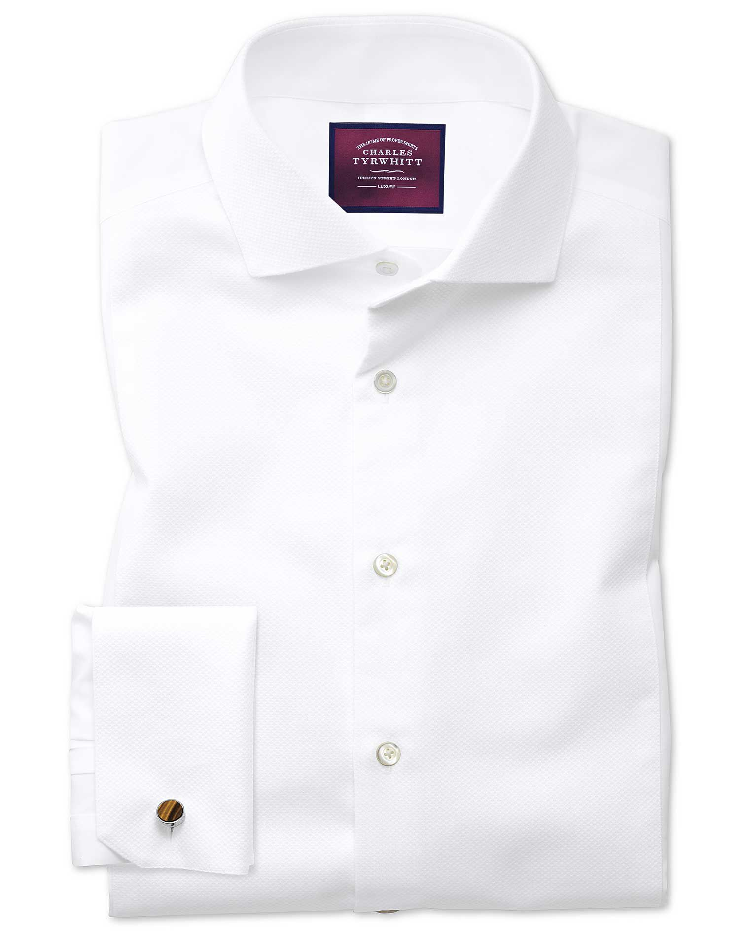 Extra Slim Fit Cutaway Non-Iron Luxury White Cotton Formal Shirt Double Cuff Size 17/35 by Charles T
