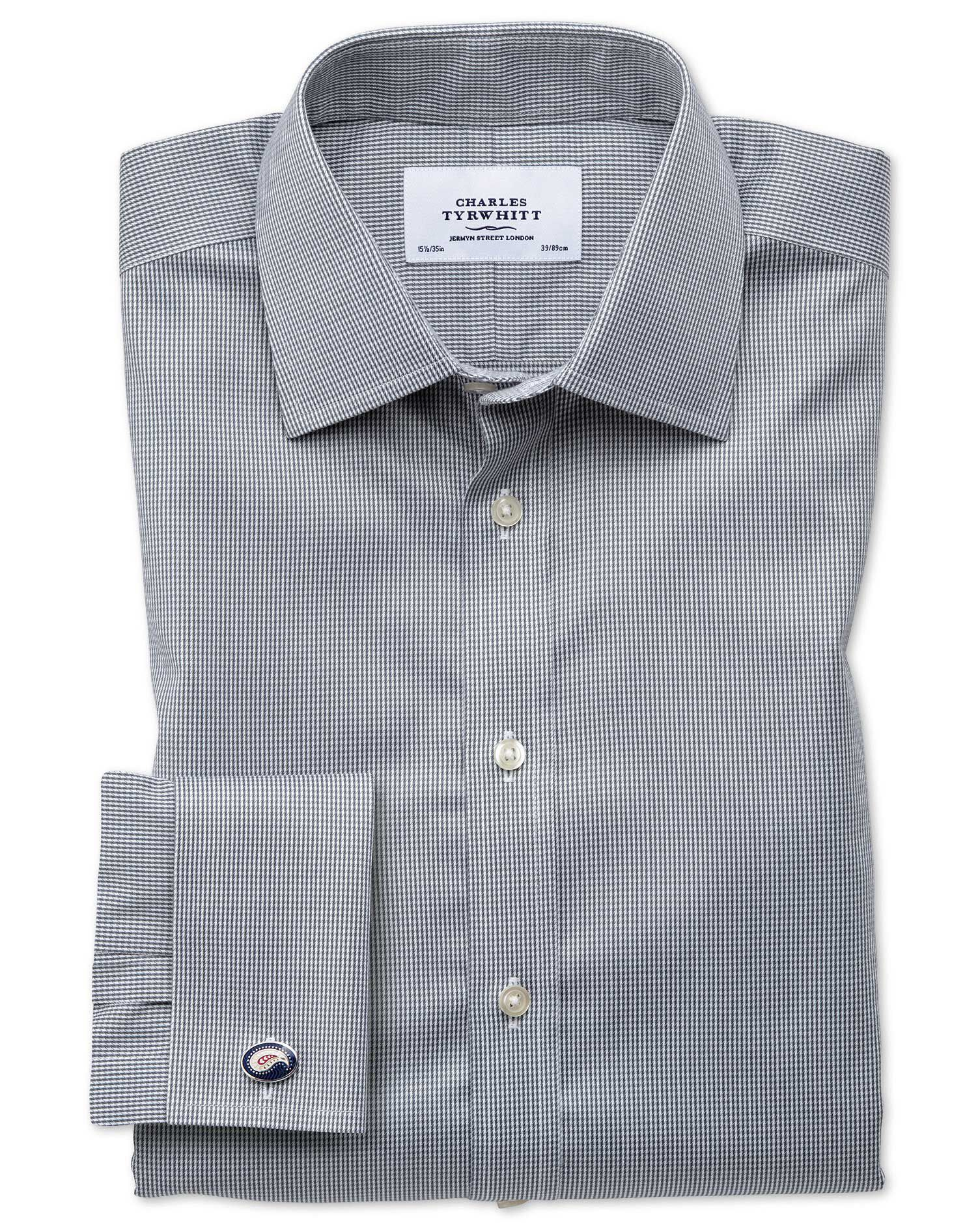 Classic Fit Non-Iron Puppytooth Dark Grey Cotton Formal Shirt Single Cuff Size 17/36 by Charles Tyrw