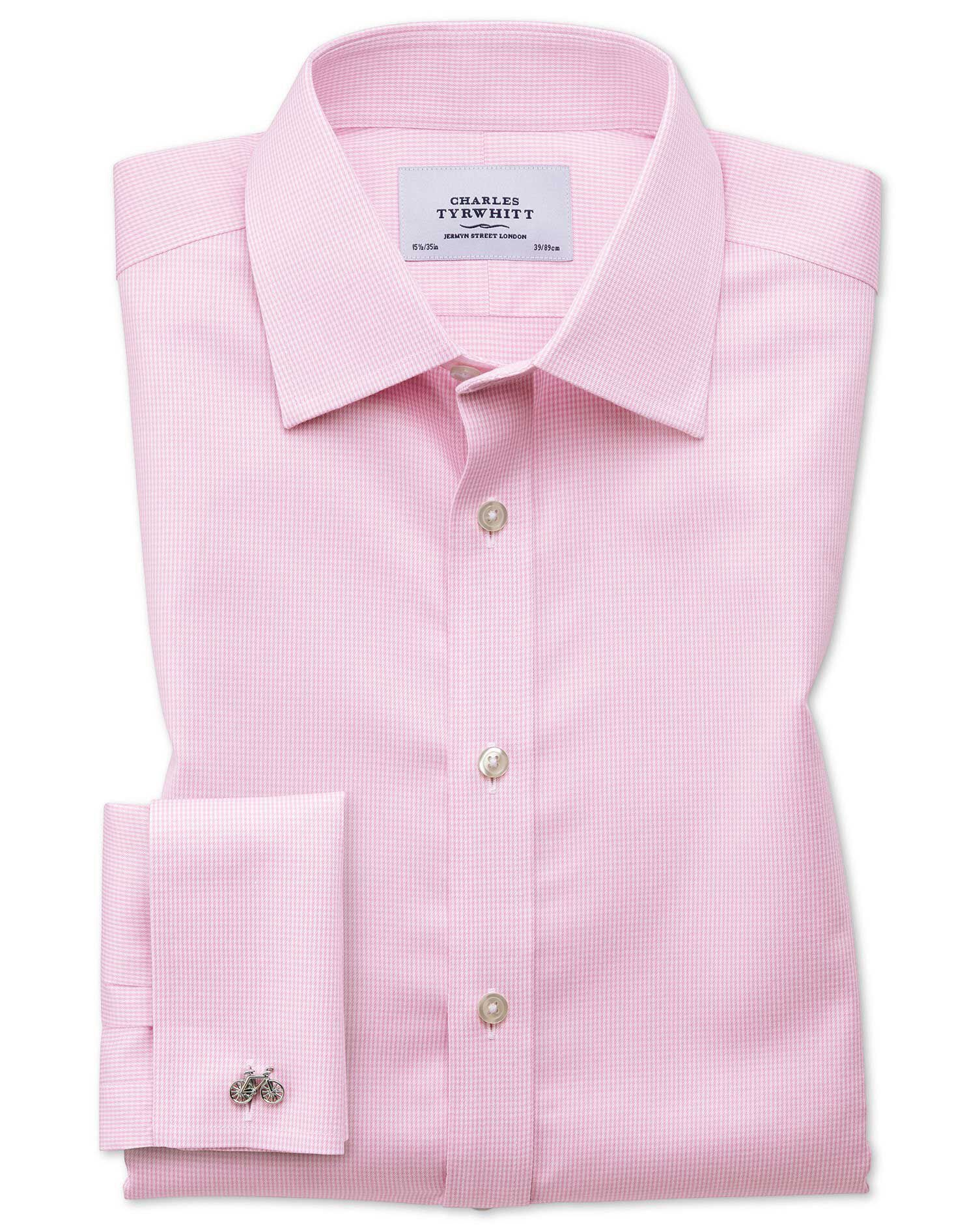 Classic Fit Non-Iron Puppytooth Light Pink Cotton Formal Shirt Single Cuff Size 15.5/34 by Charles T
