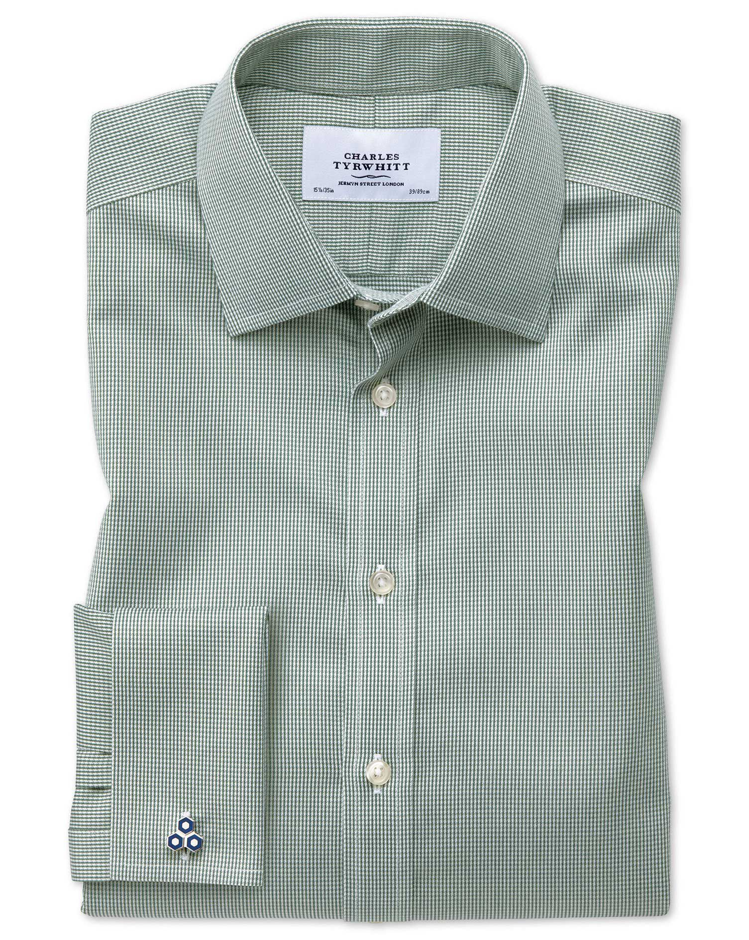 Classic Fit Non-Iron Puppytooth Olive Green Cotton Formal Shirt Double Cuff Size 15.5/33 by Charles