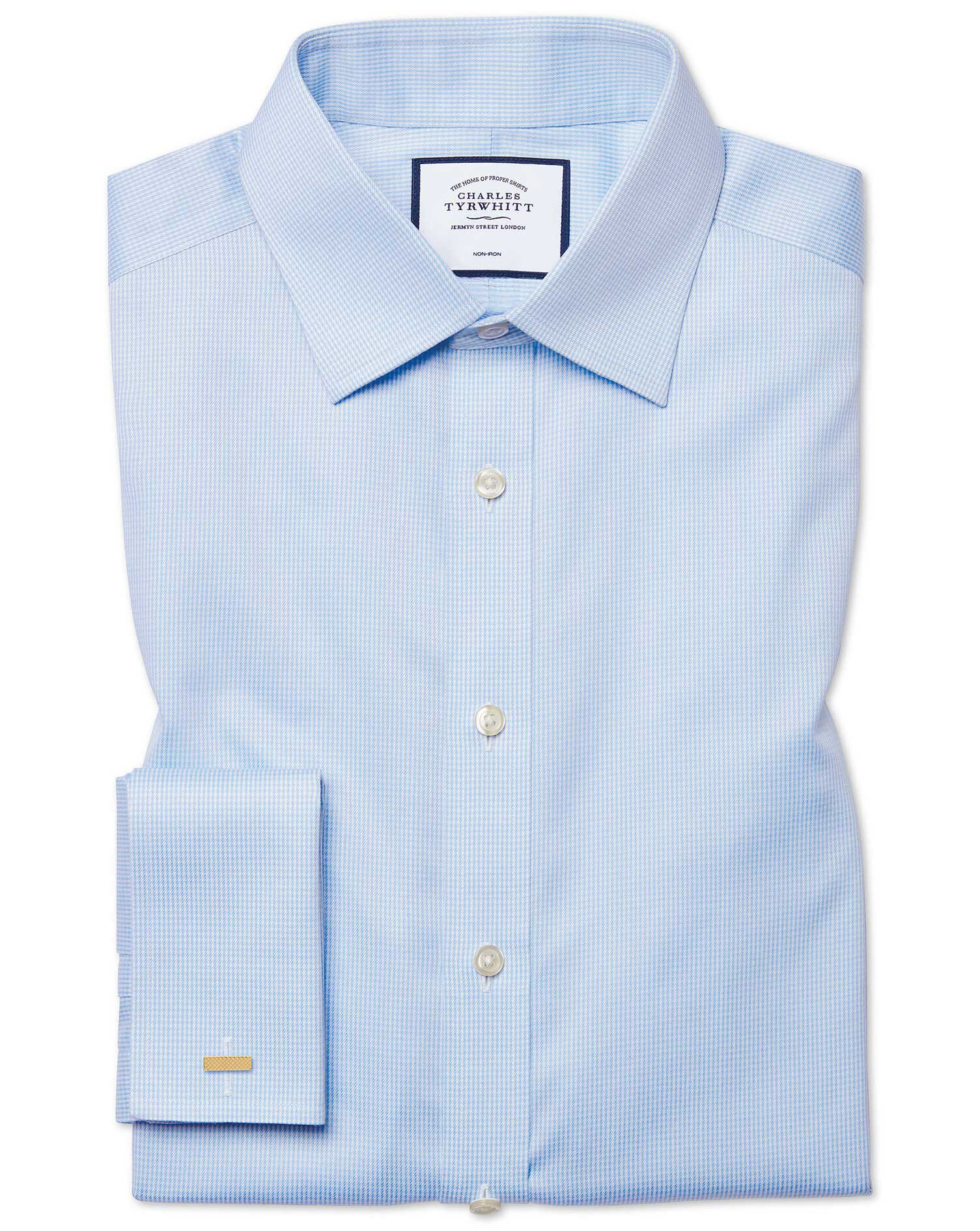 Classic Fit Non-Iron Puppytooth Sky Blue Cotton Formal Shirt Single Cuff Size 16/35 by Charles Tyrwh