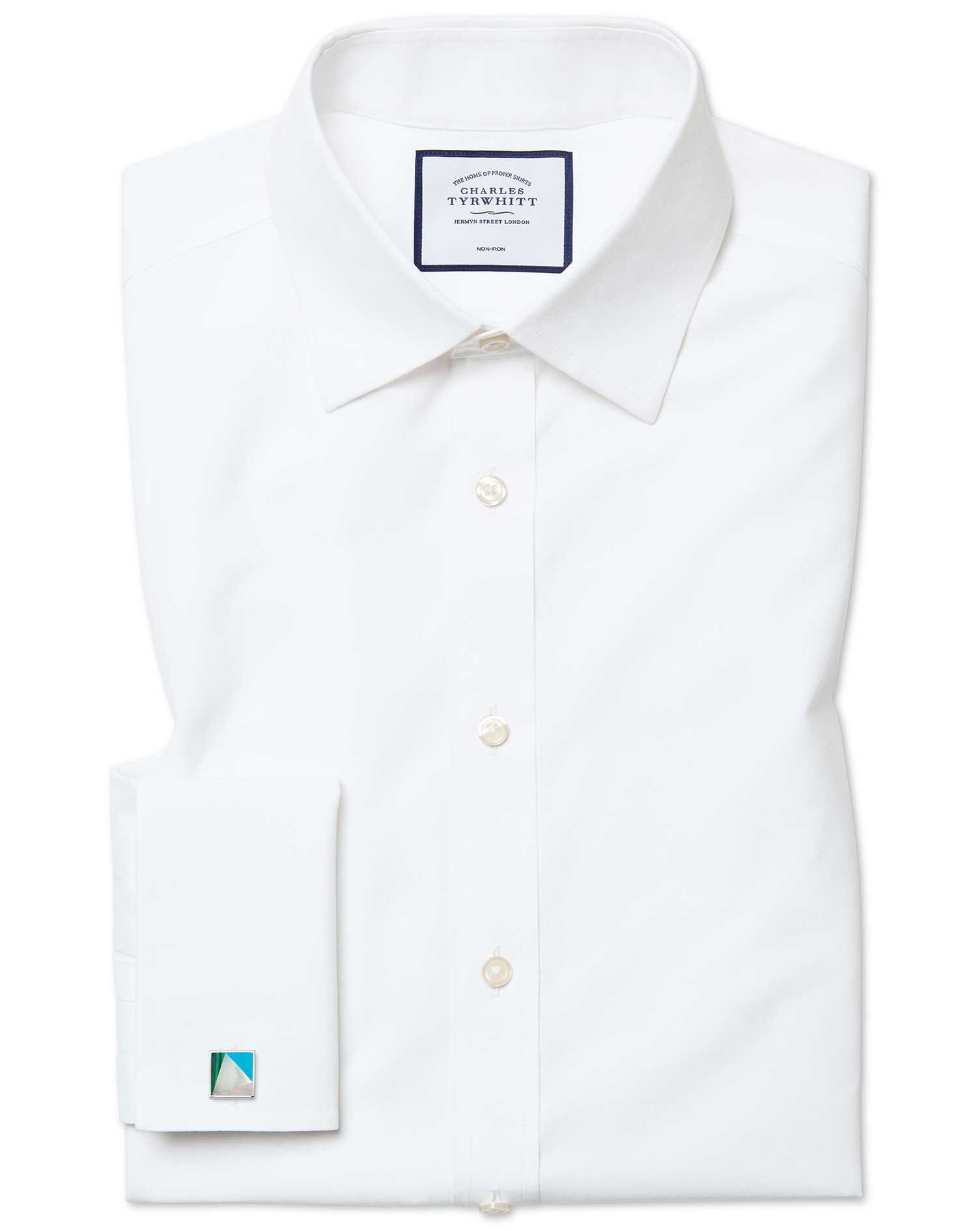 Classic Fit Non-Iron Poplin White Cotton Formal Shirt Double Cuff Size 17/36 by Charles Tyrwhitt