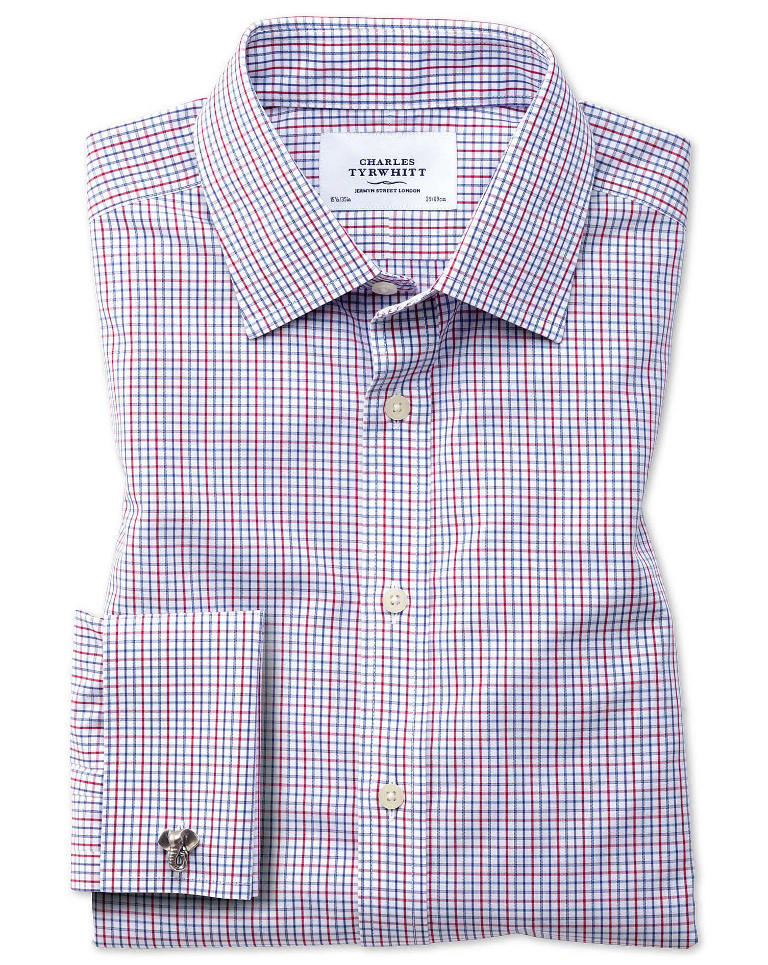 Classic Fit Non-Iron Multi Grid Check Cotton Formal Shirt Single Cuff Size 17.5/34 by Charles Tyrwhi