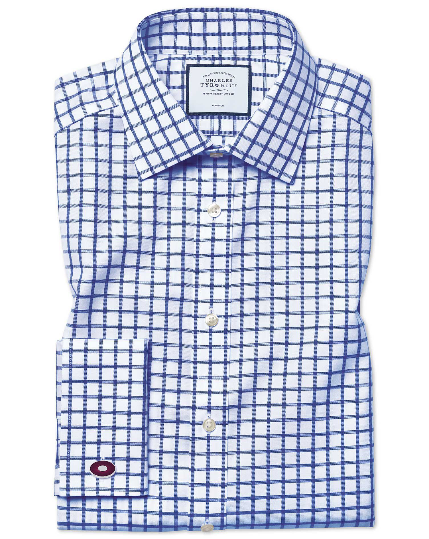 Classic Fit Non-Iron Twill Grid Check Royal Blue Cotton Formal Shirt Double Cuff Size 16.5/38 by Cha