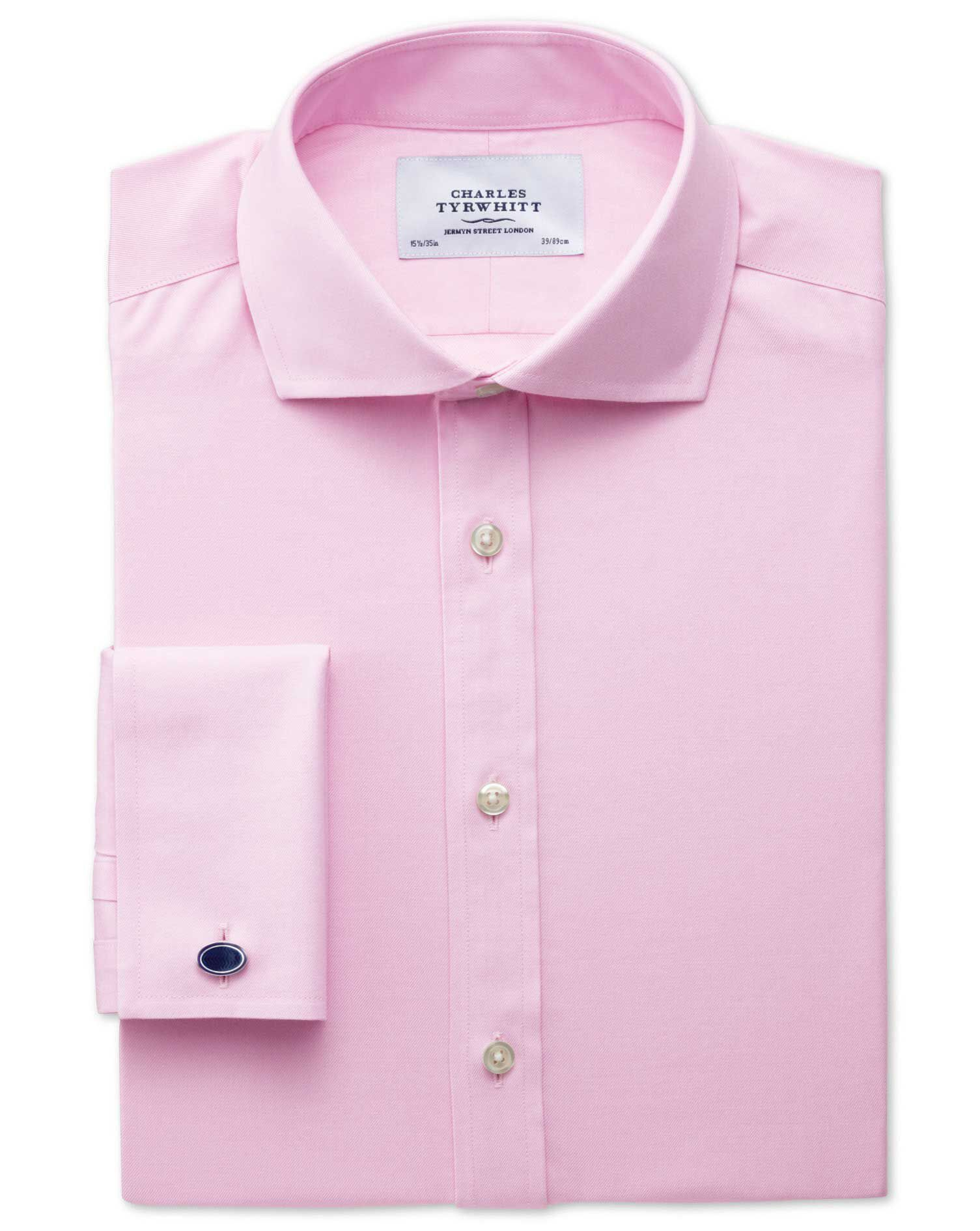 Classic Fit Cutaway Non-Iron Twill Pink Cotton Formal Shirt Single Cuff Size 17/38 by Charles Tyrwhi