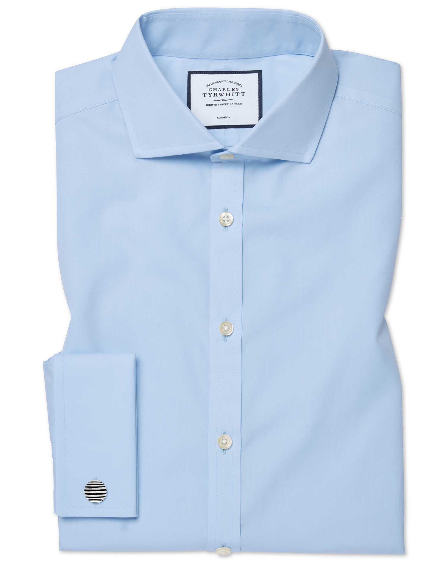 Classic Fit Cutaway Non-Iron Twill Sky Blue Cotton Formal Shirt Double Cuff Size 15.5/33 by Charles