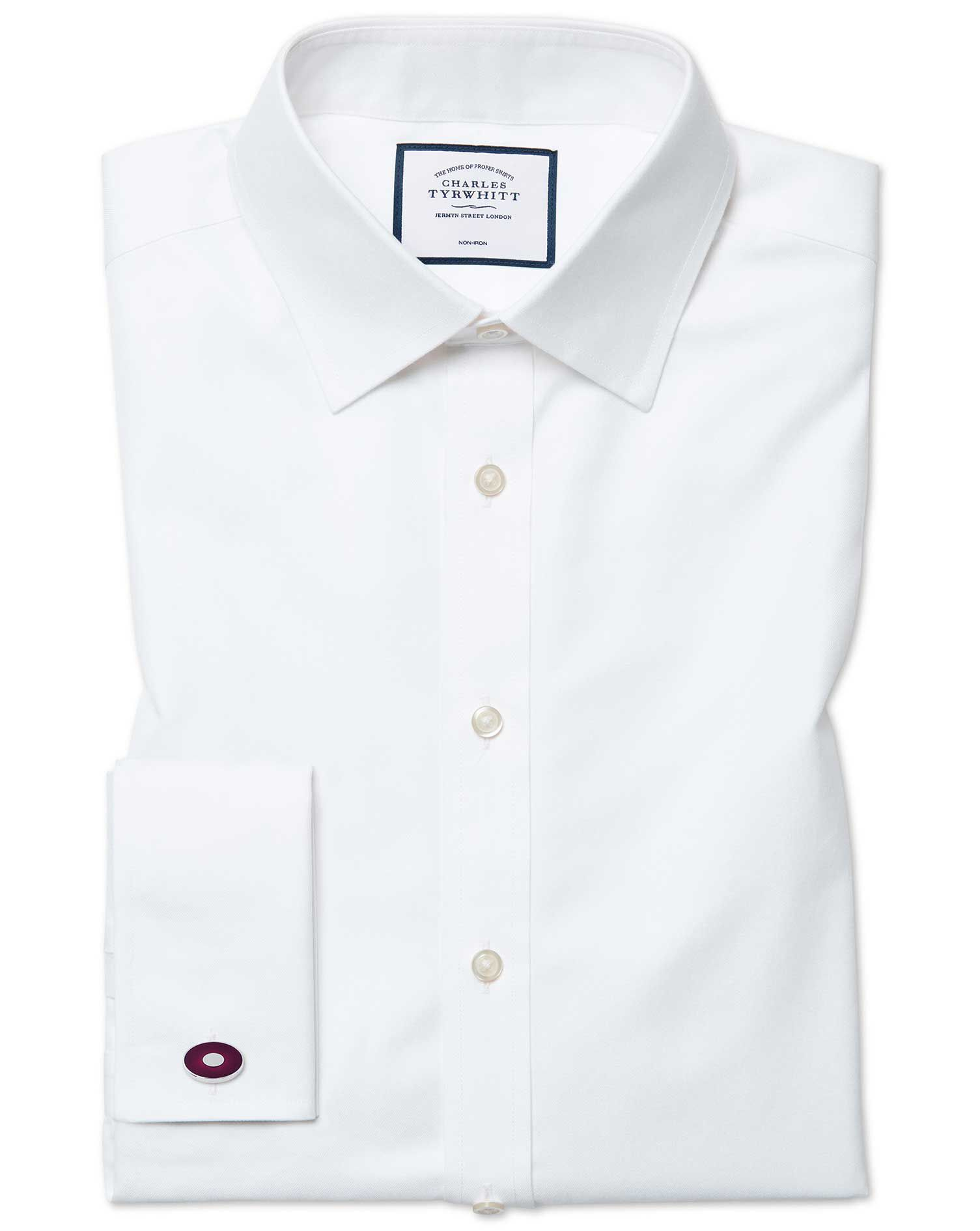 Classic Fit Cutaway Non-Iron Twill White Cotton Formal Shirt Single Cuff Size 15.5/33 by Charles Tyr