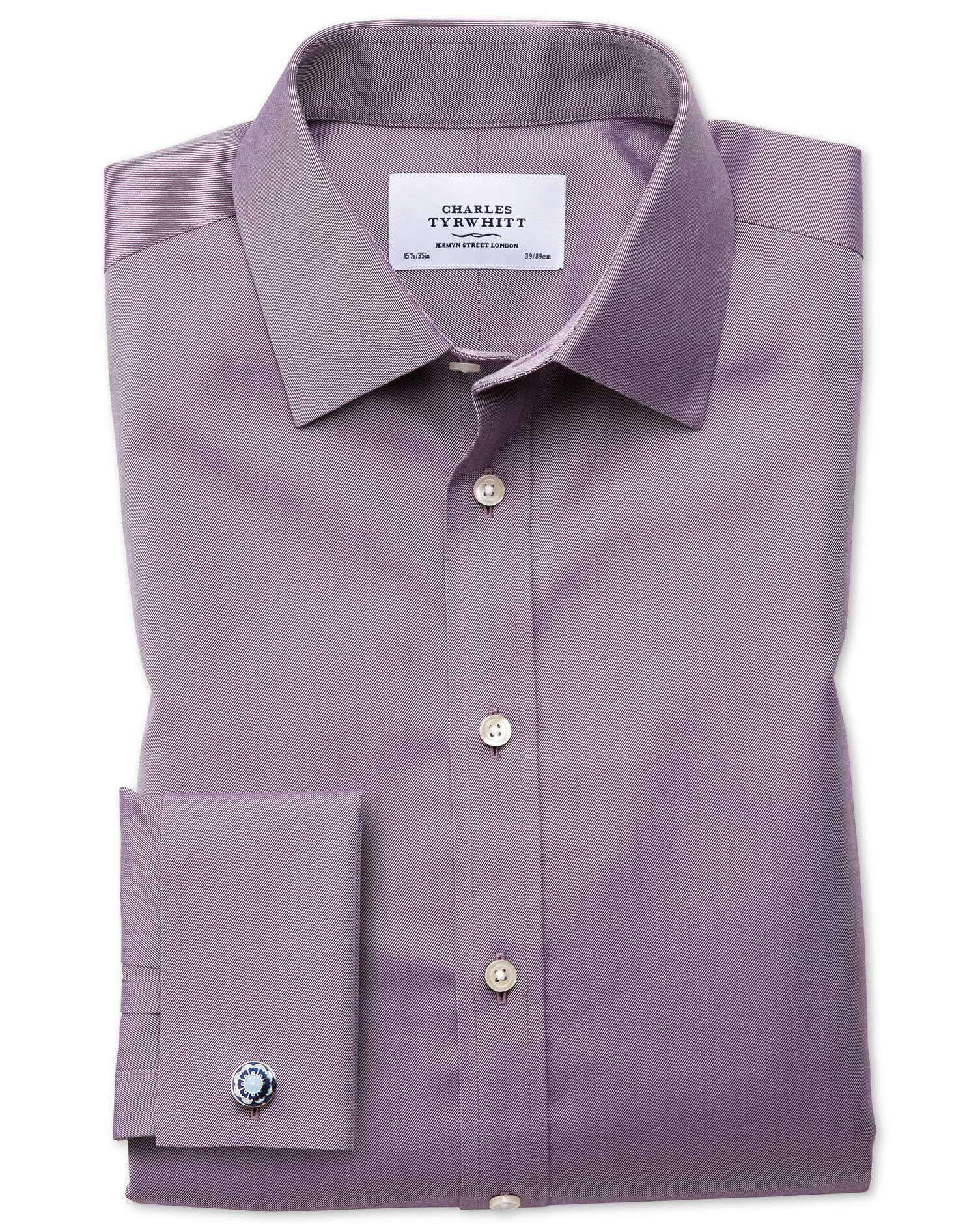 Classic Fit Non-Iron Twill Dark Purple Cotton Formal Shirt Double Cuff Size 15.5/32 by Charles Tyrwh