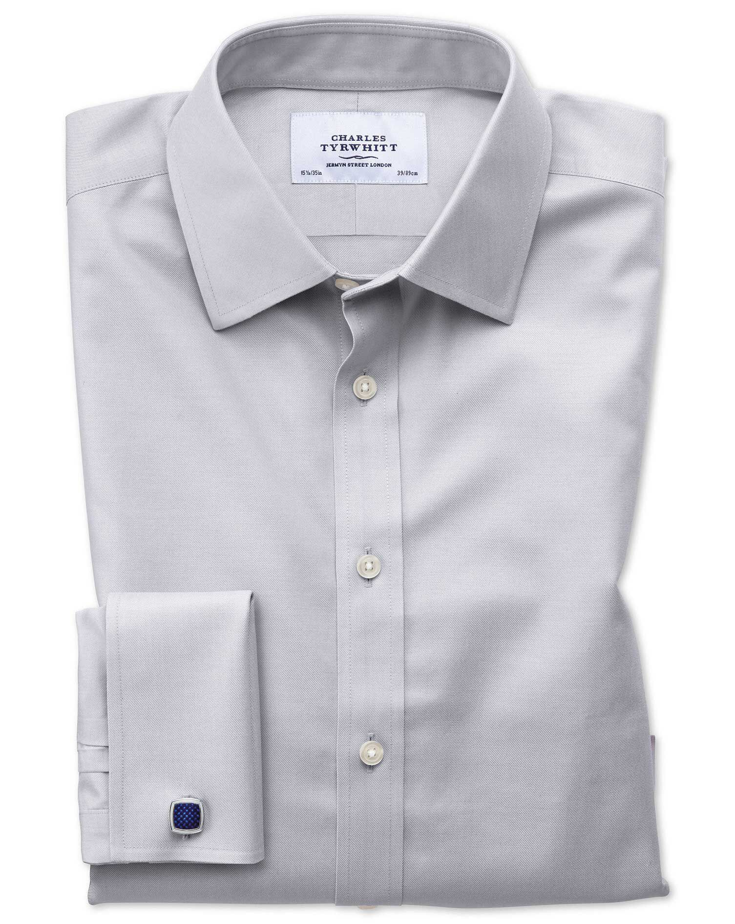 Classic Fit Non-Iron Twill Grey Cotton Formal Shirt Double Cuff Size 17/37 by Charles Tyrwhitt