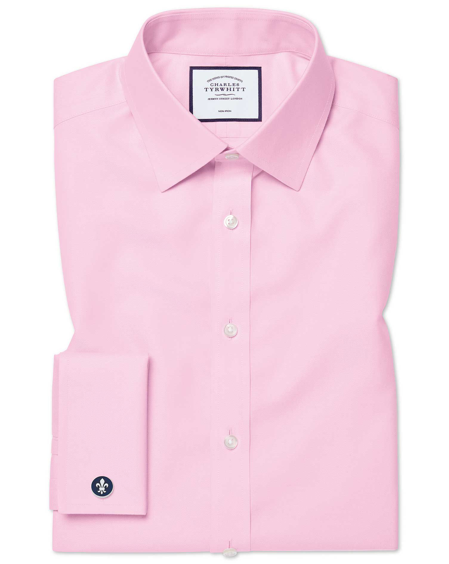 Classic Fit Non-Iron Twill Pink Cotton Formal Shirt Double Cuff Size 19/37 by Charles Tyrwhitt