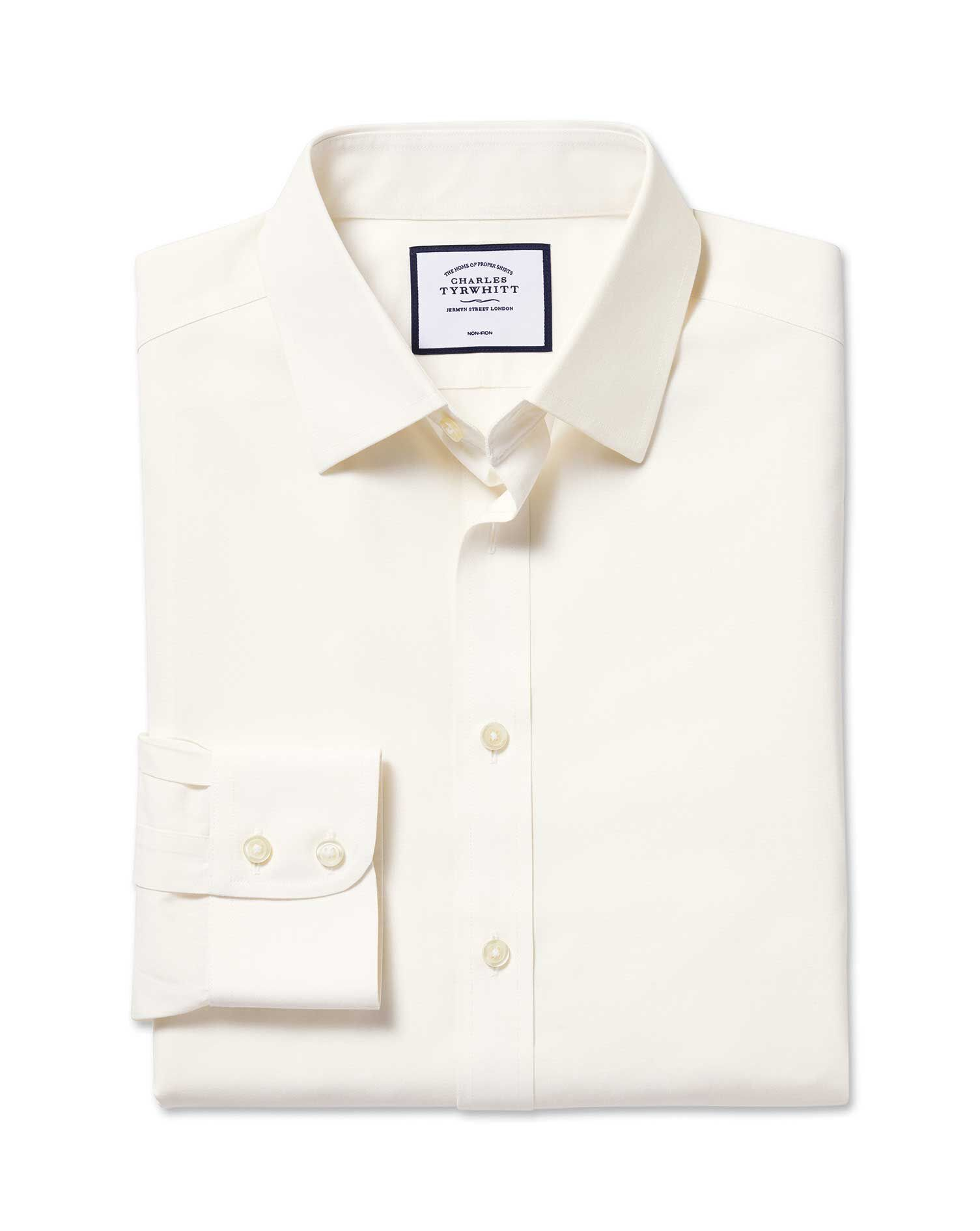 Slim Fit Non-Iron Poplin Cream Cotton Formal Shirt Single Cuff Size 17/34 by Charles Tyrwhitt