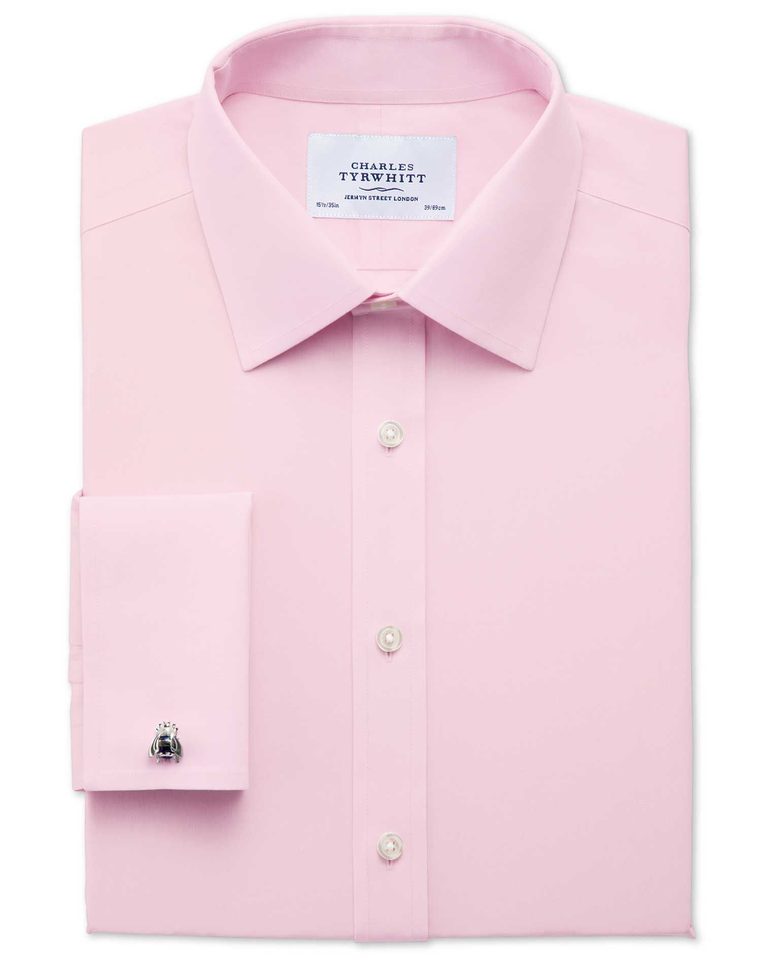 Slim Fit Non-Iron Poplin Light Pink Cotton Formal Shirt Single Cuff Size 17/37 by Charles Tyrwhitt