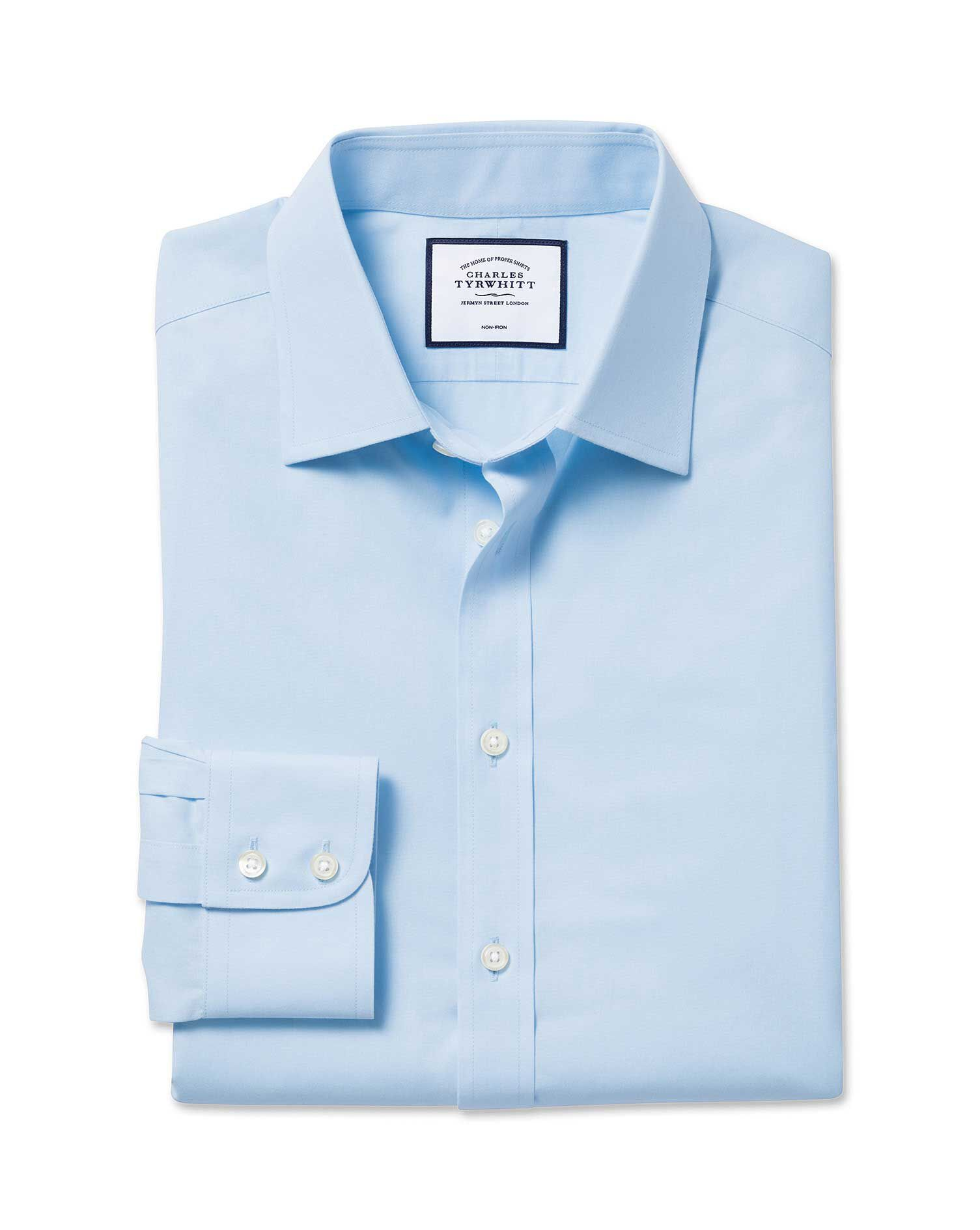 Slim Fit Non-Iron Poplin Sky Blue Cotton Formal Shirt Double Cuff Size 15.5/32 by Charles Tyrwhitt