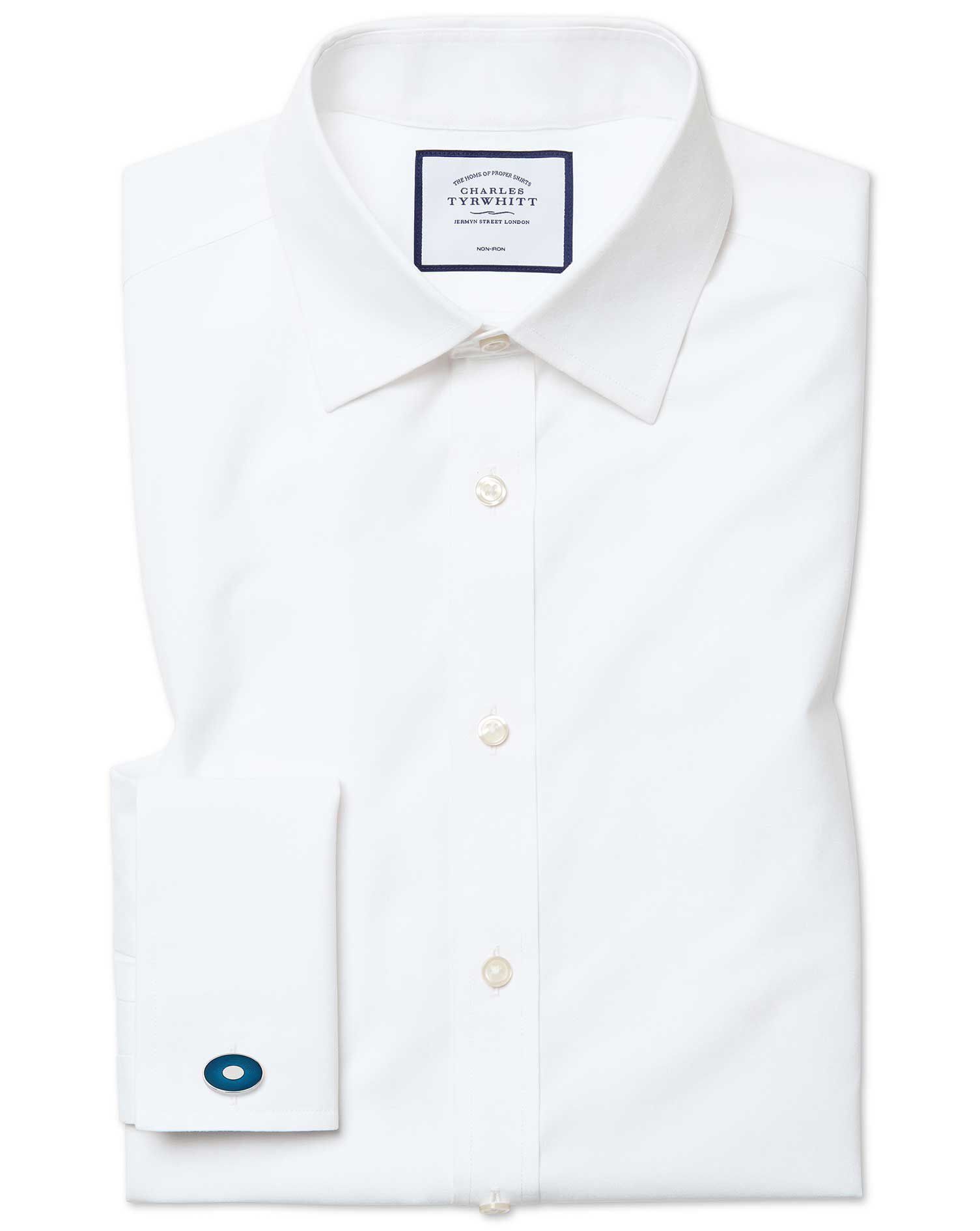 Slim Fit Non-Iron Poplin White Cotton Formal Shirt Double Cuff Size 16/33 by Charles Tyrwhitt