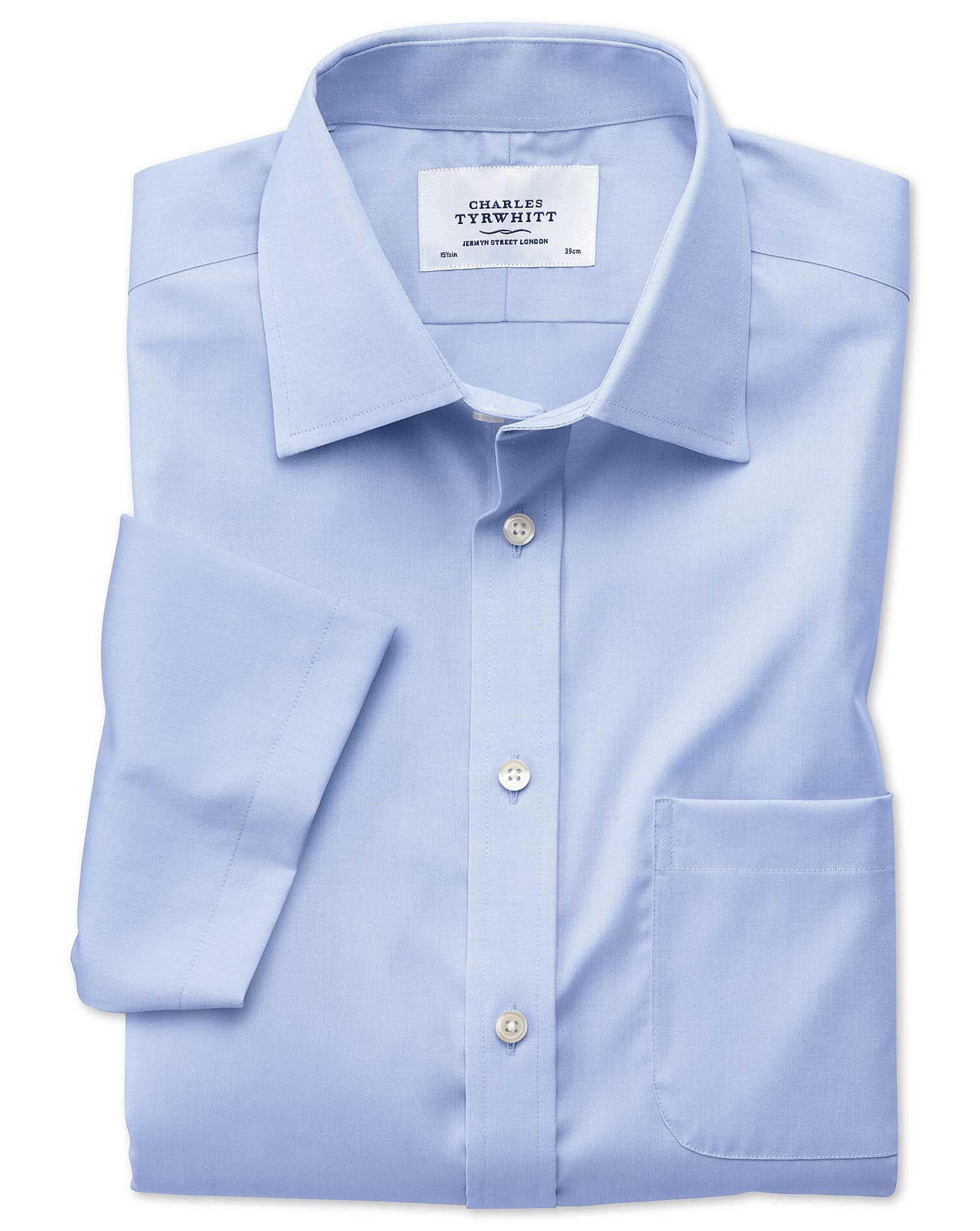 Slim Fit Non-Iron Pinpoint Short Sleeve Sky Blue Cotton Formal Shirt Size 17.5/Short by Charles Tyrw