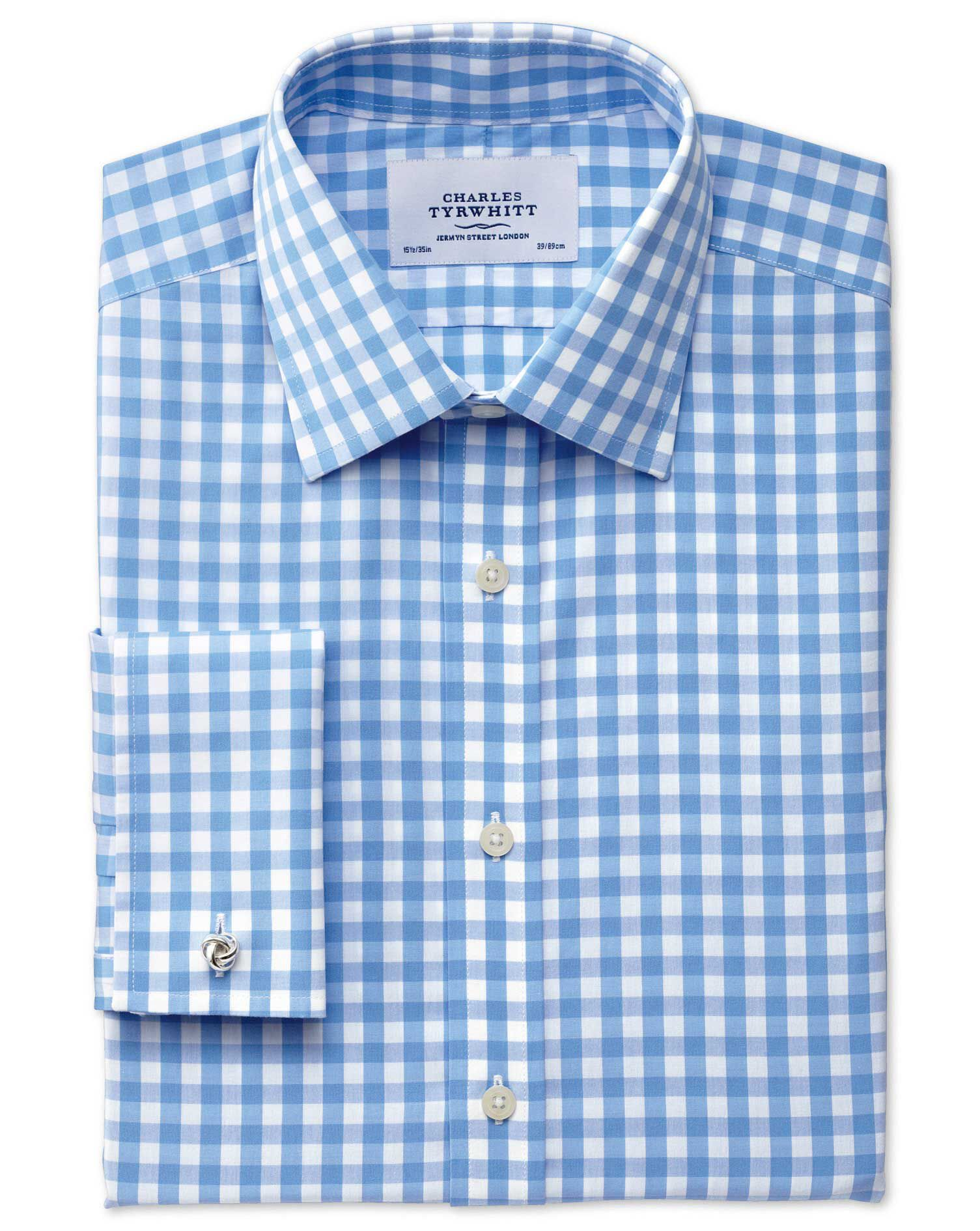 Slim Fit Non-Iron Gingham Sky Blue Cotton Formal Shirt Single Cuff Size 16/36 by Charles Tyrwhitt