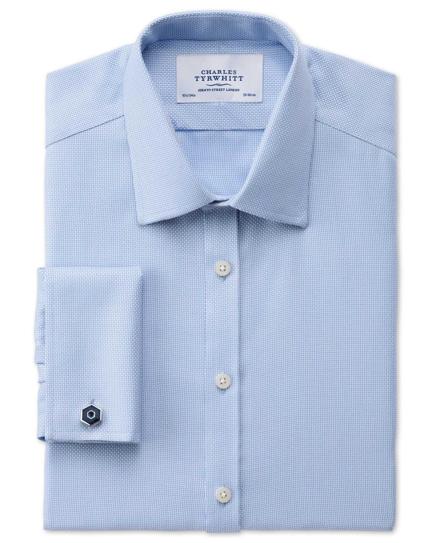 Classic Fit Non-Iron Buckingham Weave Sky Blue Cotton Formal Shirt Double Cuff Size 15/33 by Charles