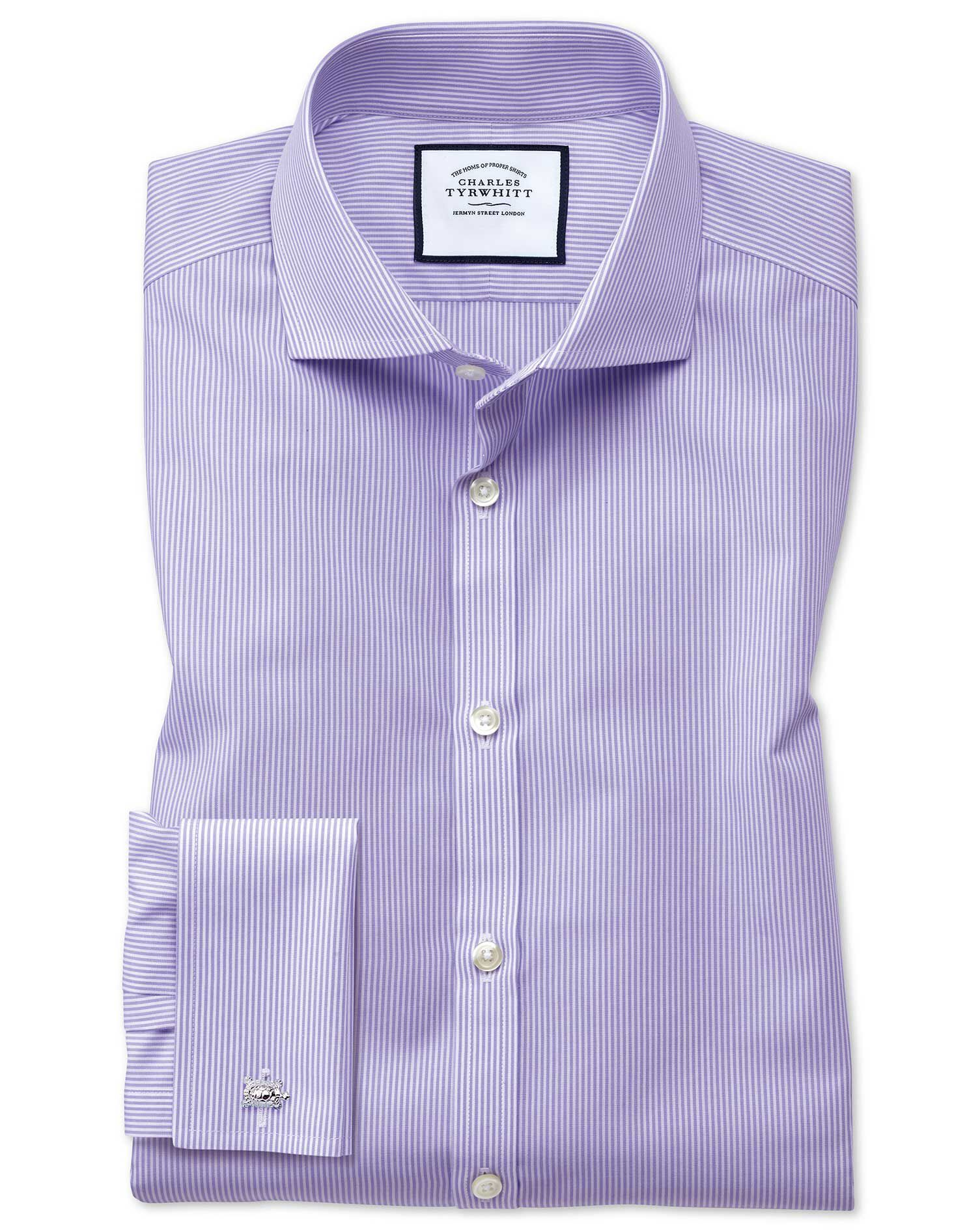 Extra Slim Fit Cutaway Collar Non-Iron Bengal Stripe Lilac Cotton Formal Shirt Single Cuff Size 17.5