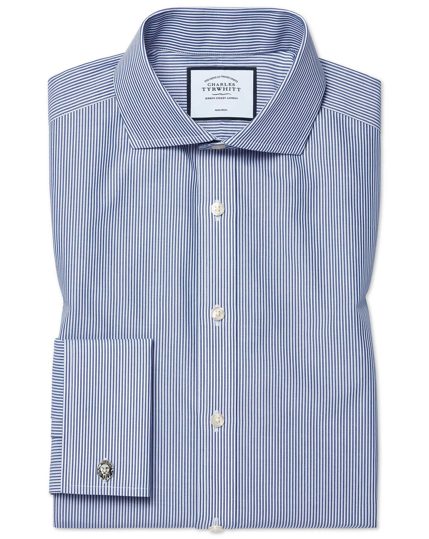 Extra Slim Fit Cutaway Non-Iron Bengal Stripe Navy Blue Cotton Formal Shirt Single Cuff Size 16/35 b
