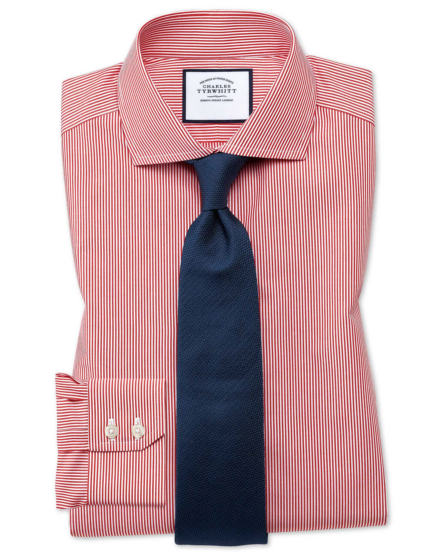 Extra Slim Fit Cutaway Collar Non-Iron Bengal Stripe Red Cotton Formal Shirt Double Cuff Size 15.5/3
