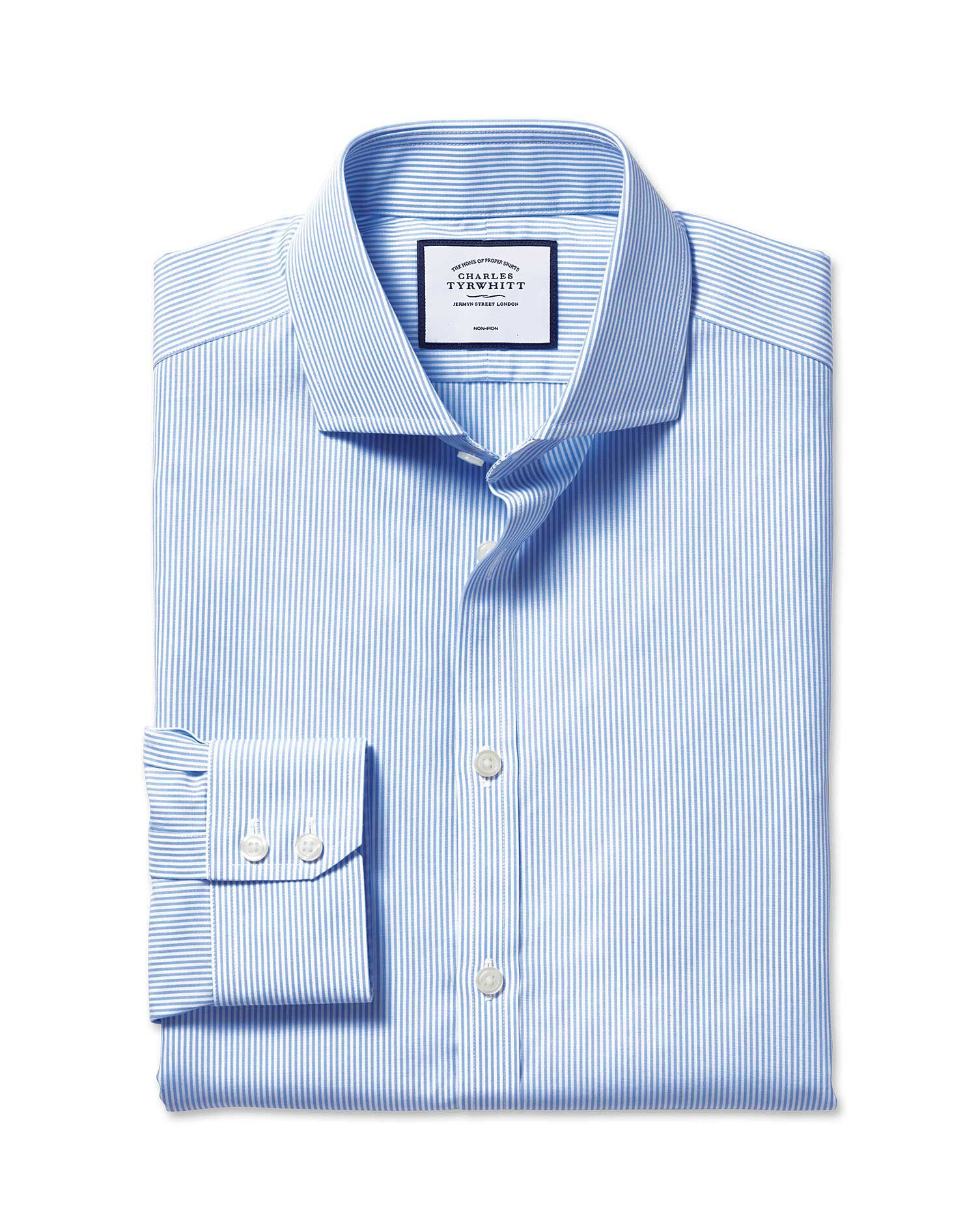 Extra Slim Fit Cutaway Non-Iron Bengal Stripe Sky Blue Cotton Formal Shirt Double Cuff Size 16.5/35