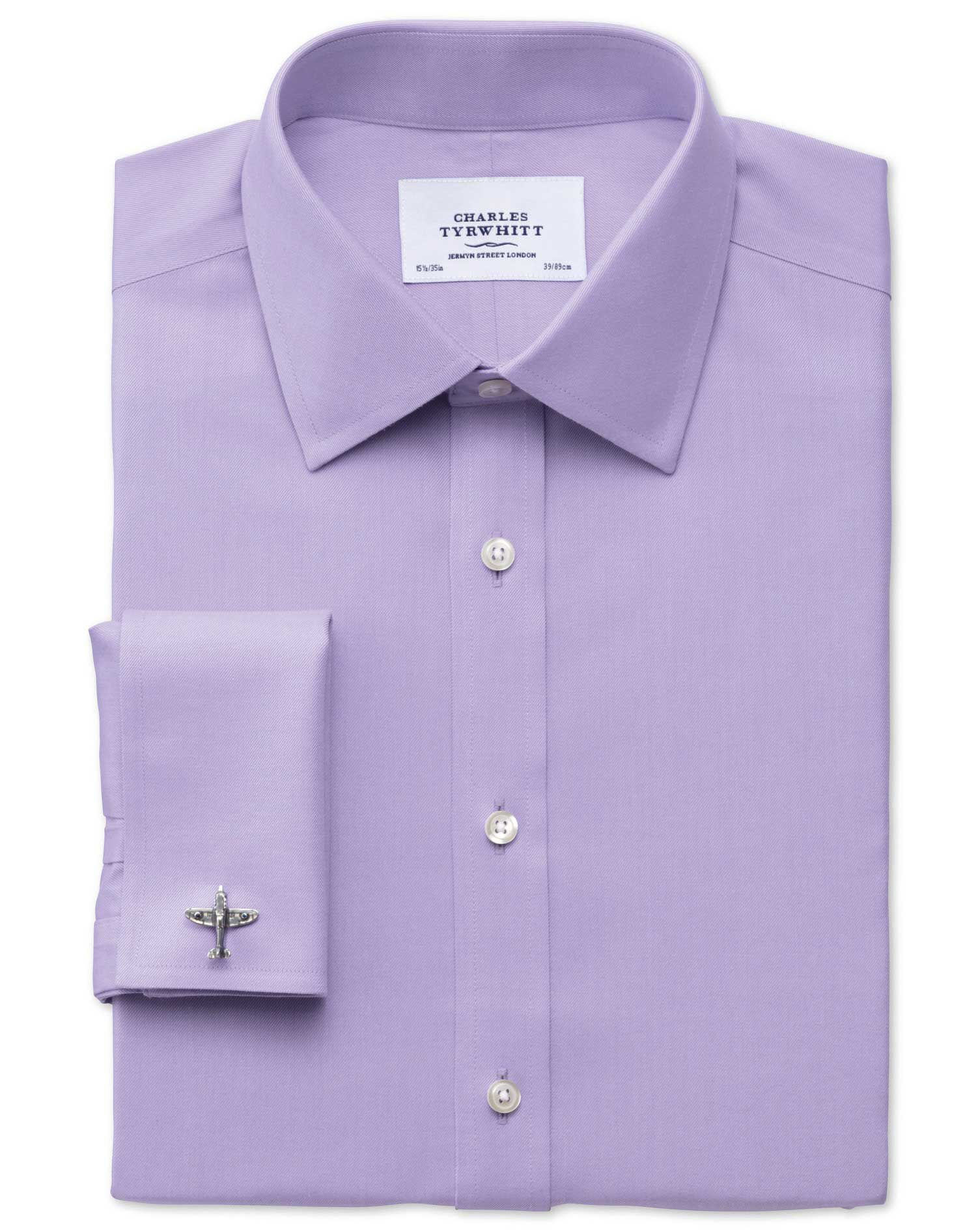 Extra Slim Fit Non-Iron Twill Lilac Cotton Formal Shirt Double Cuff Size 16/33 by Charles Tyrwhitt