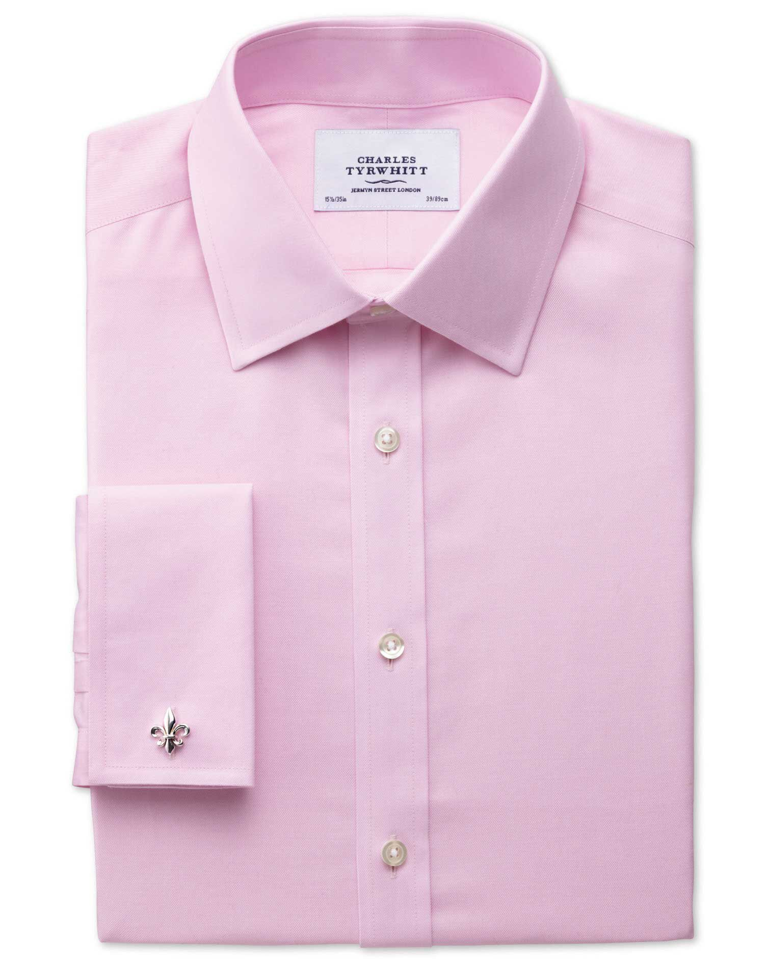 Extra Slim Fit Non-Iron Twill Pink Cotton Formal Shirt Double Cuff Size 16.5/33 by Charles Tyrwhitt