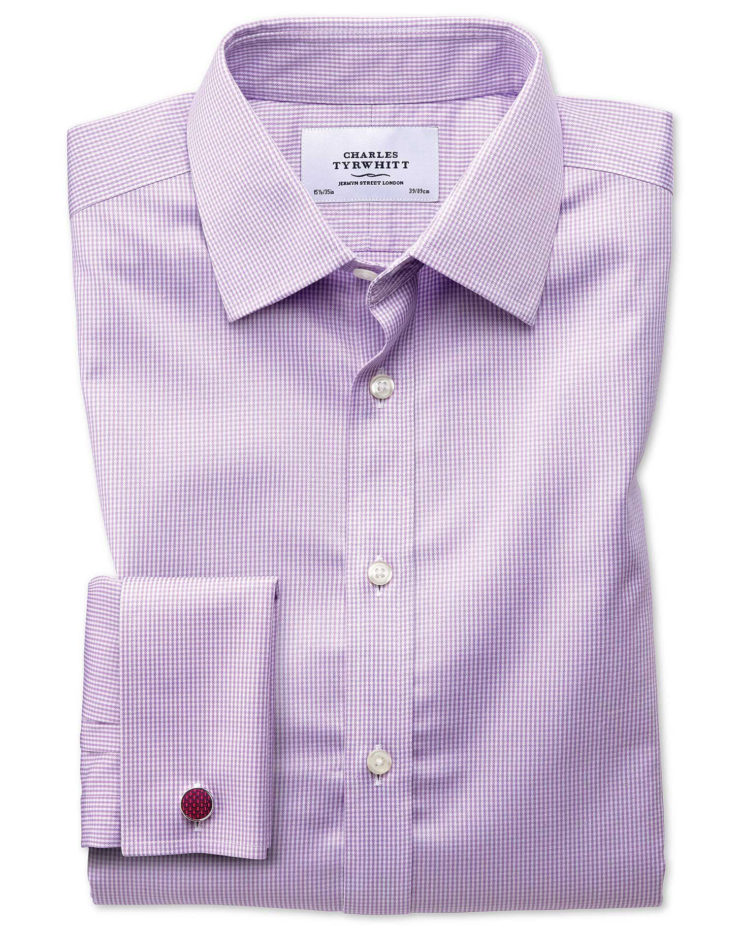 Extra Slim Fit Non-Iron Puppytooth Lilac Cotton Formal Shirt Double Cuff Size 17/37 by Charles Tyrwh