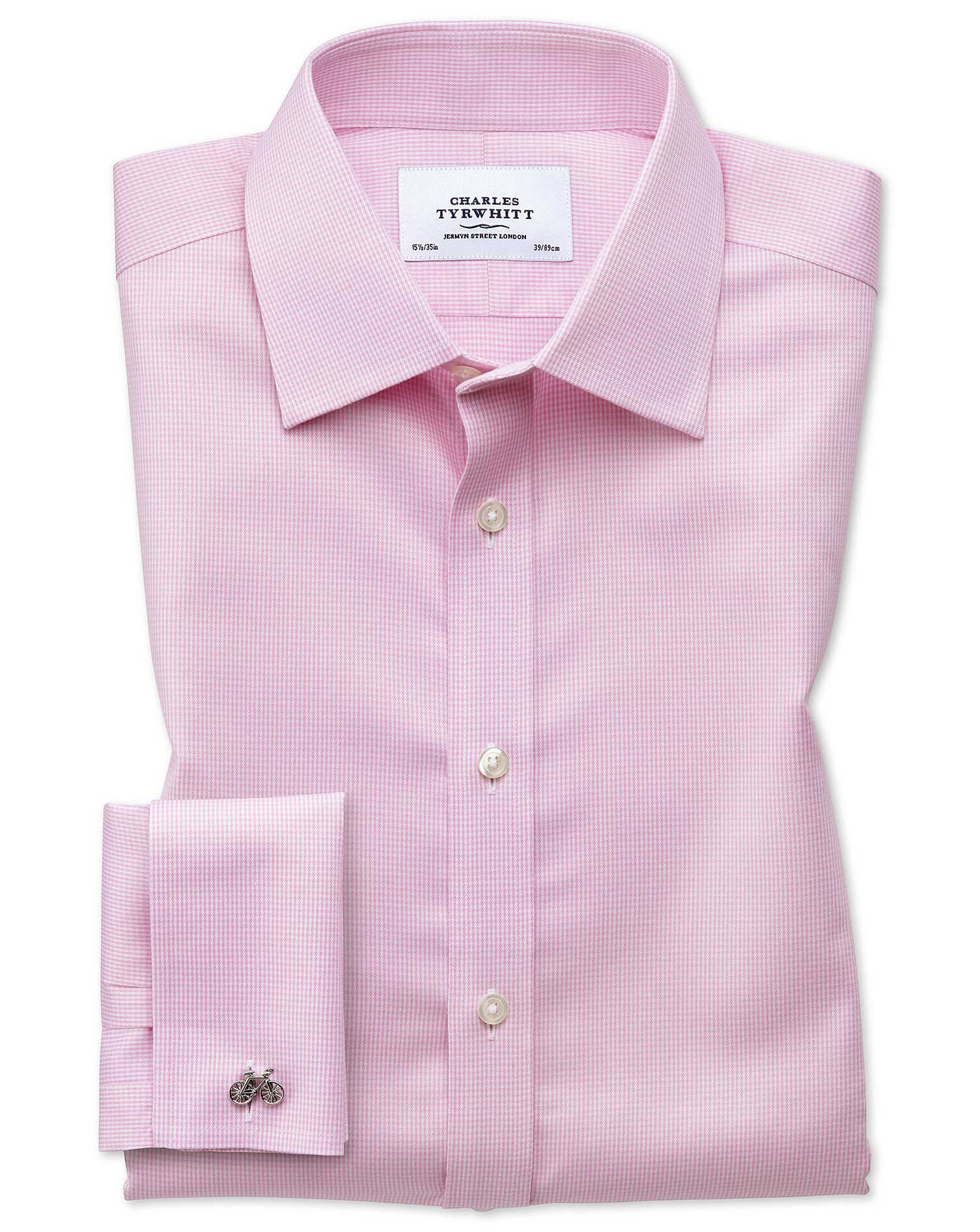 Extra Slim Fit Non-Iron Puppytooth Light Pink Cotton Formal Shirt Single Cuff Size 17.5/34 by Charle