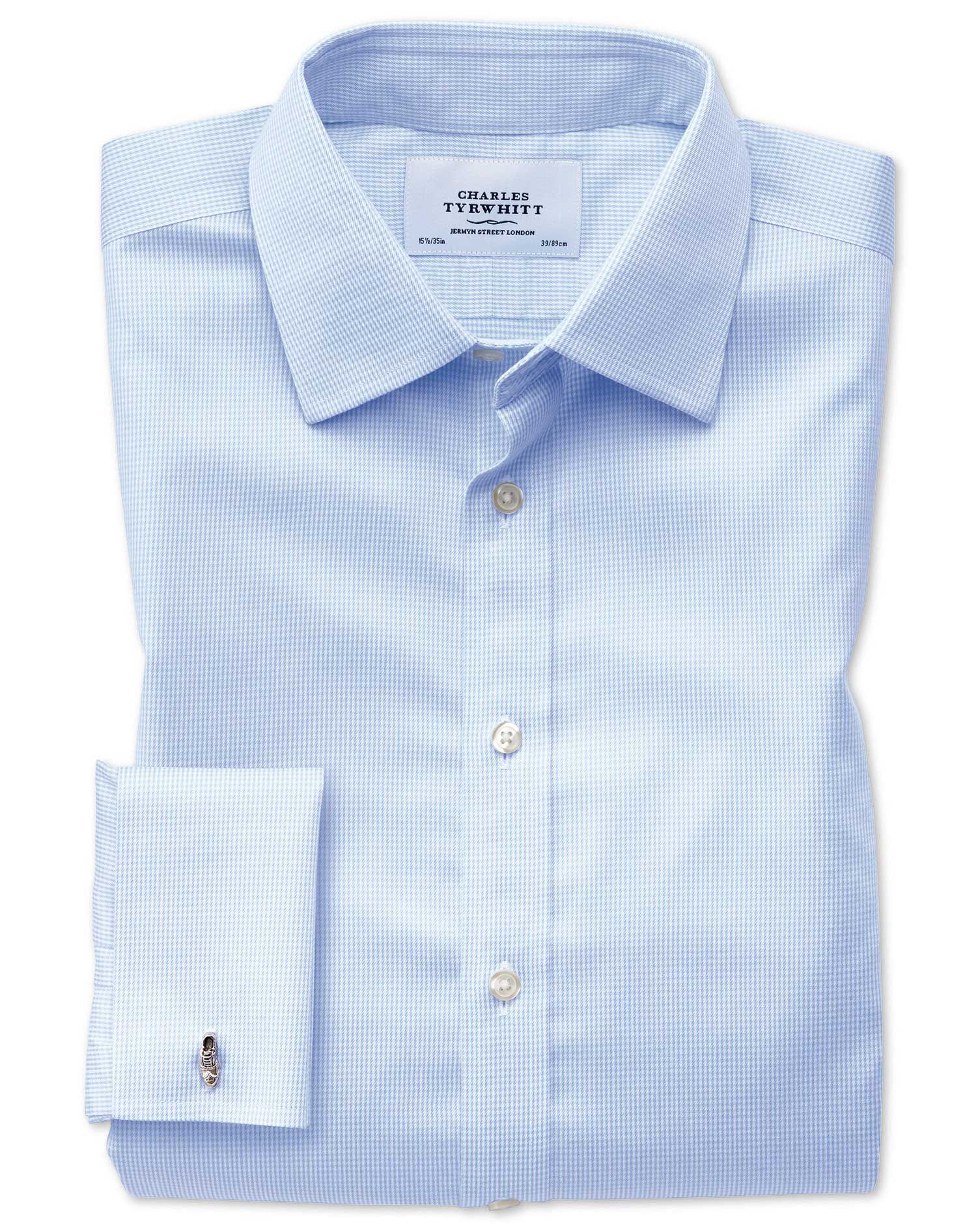 Extra Slim Fit Non-Iron Puppytooth Sky Blue Cotton Formal Shirt Single Cuff Size 15.5/32 by Charles