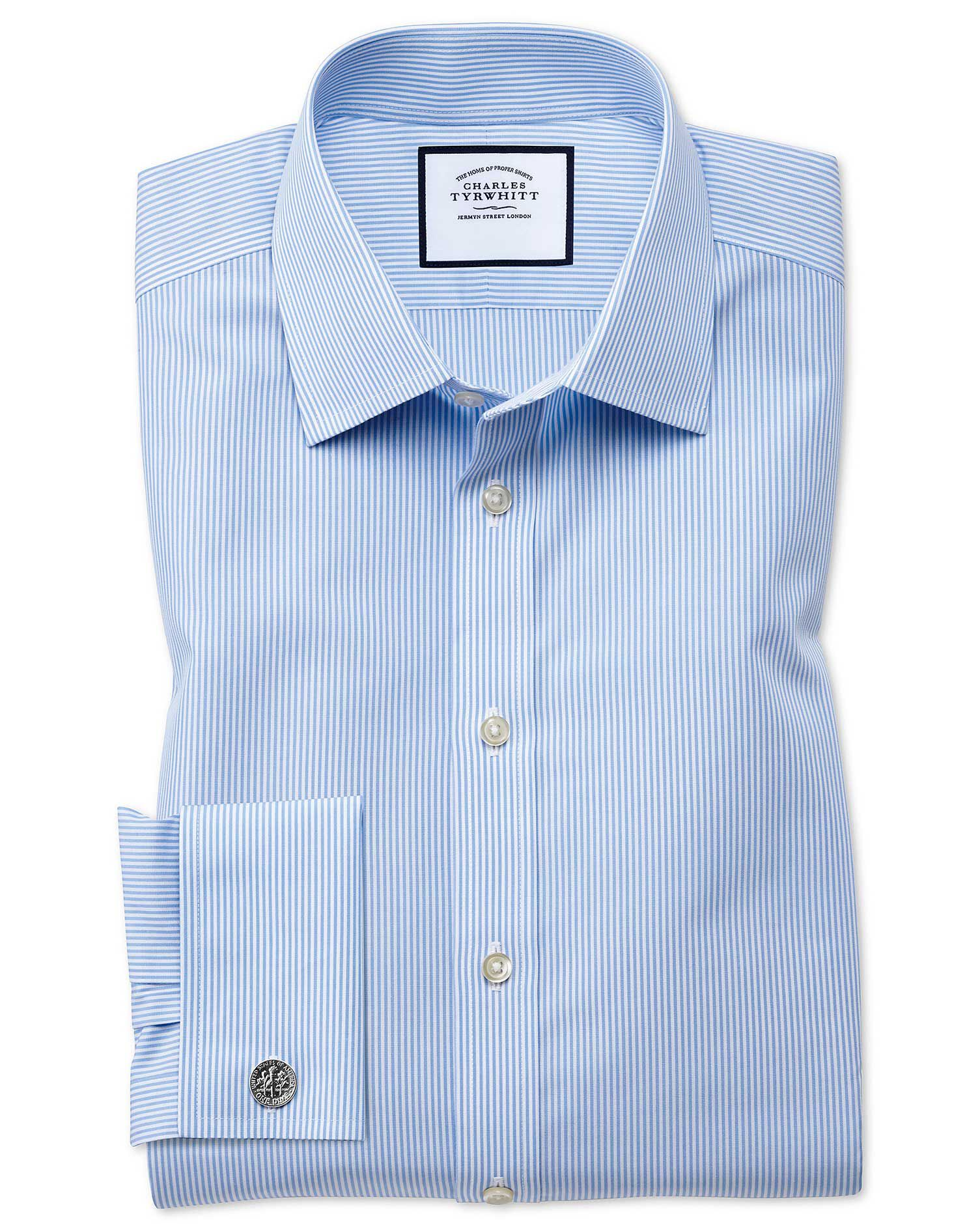 Extra Slim Fit Non-Iron Bengal Stripe Sky Blue Cotton Formal Shirt Double Cuff Size 16.5/33 by Charl