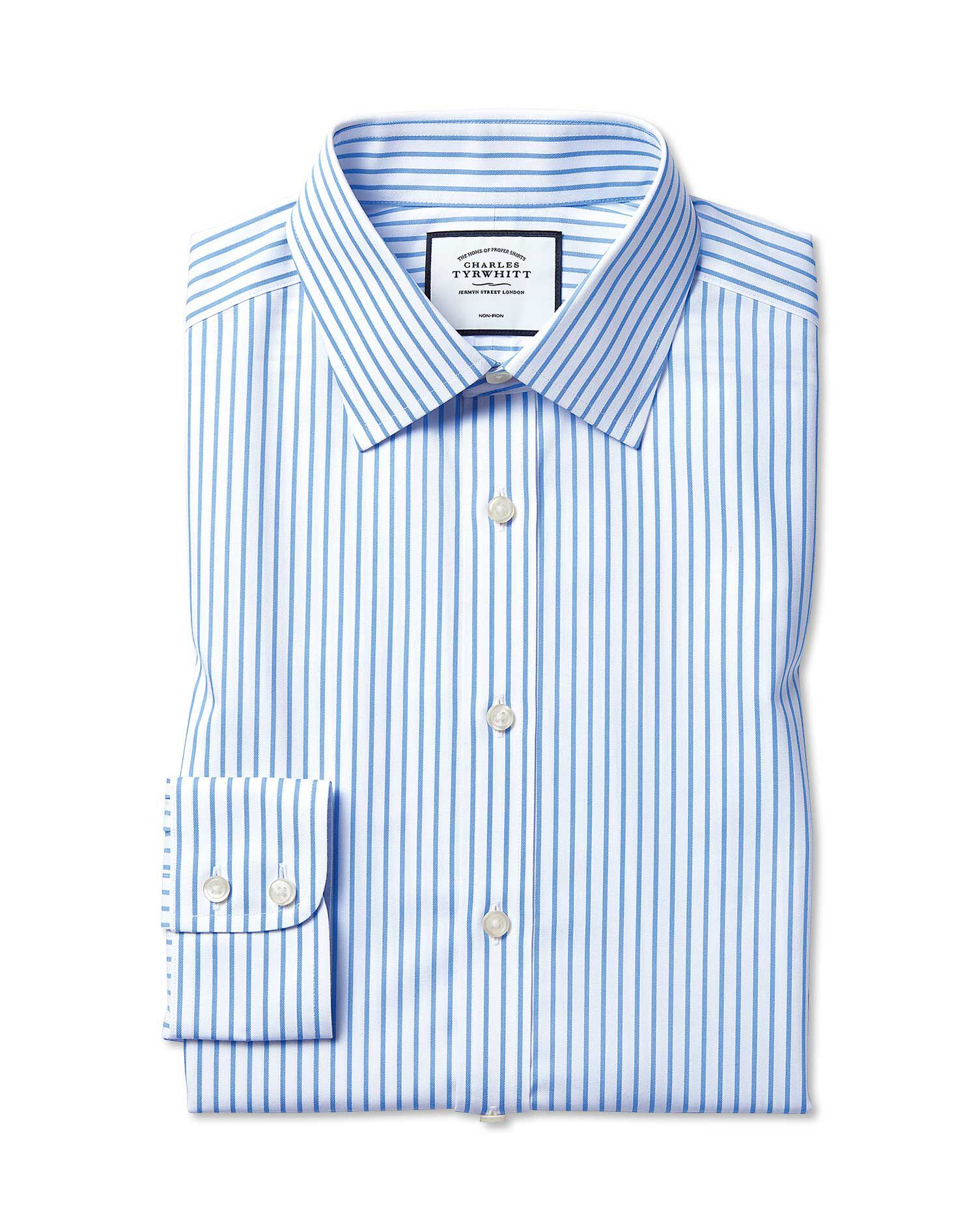 Extra Slim Fit Non-Iron Twill White and Sky Blue Stripe Cotton Formal Shirt Single Cuff Size 17.5/35