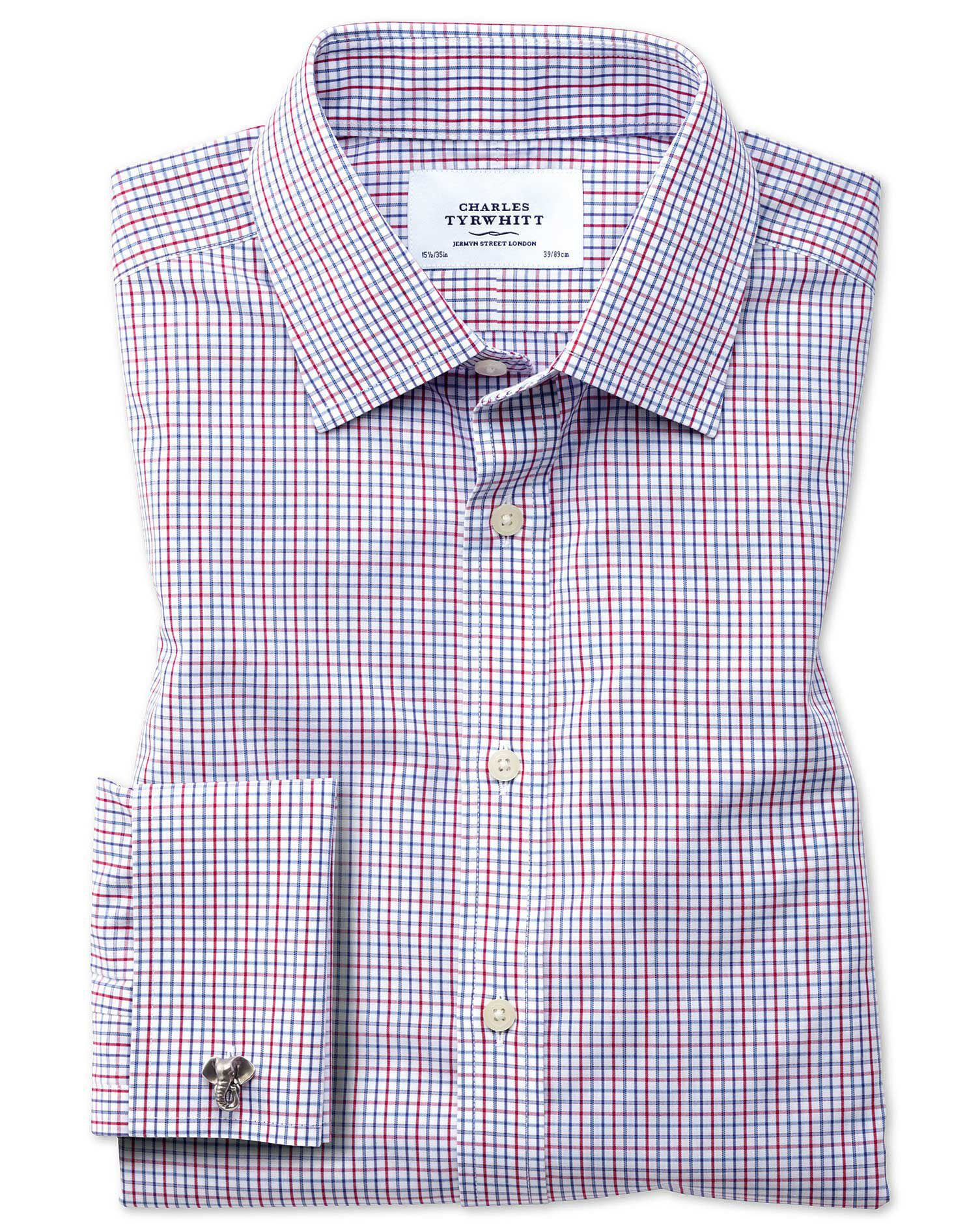 Extra Slim Fit Non-Iron Multi Grid Check Cotton Formal Shirt Double Cuff Size 15.5/34 by Charles Tyr