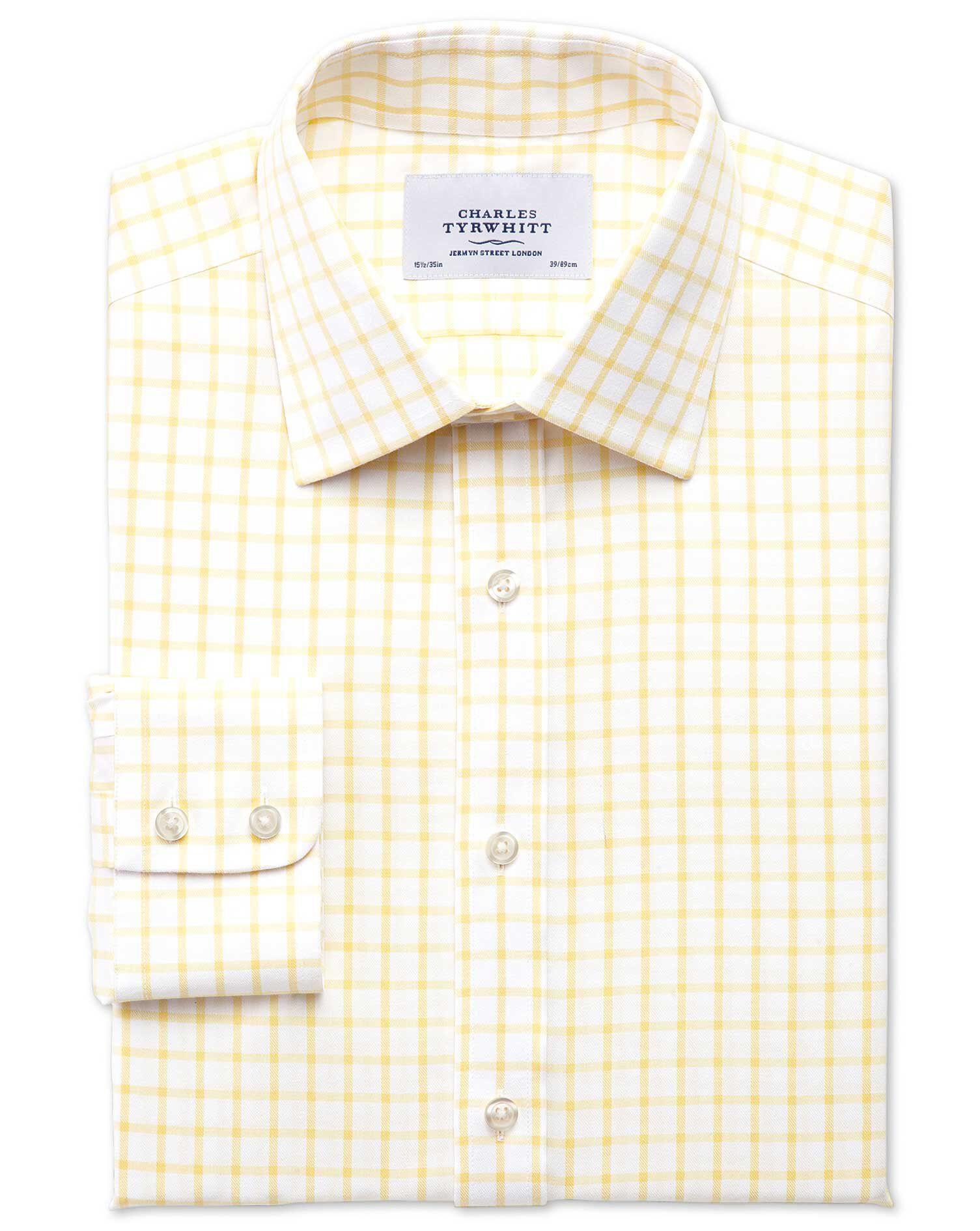 Extra Slim Fit Non-Iron Twill Grid Check Light Yellow Cotton Formal Shirt Single Cuff Size 15.5/34 b