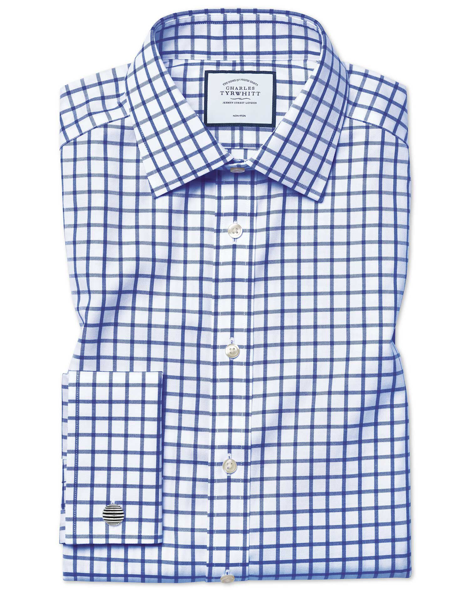 Extra Slim Fit Non-Iron Twill Grid Check Royal Blue Cotton Formal Shirt Double Cuff Size 14.5/33 by