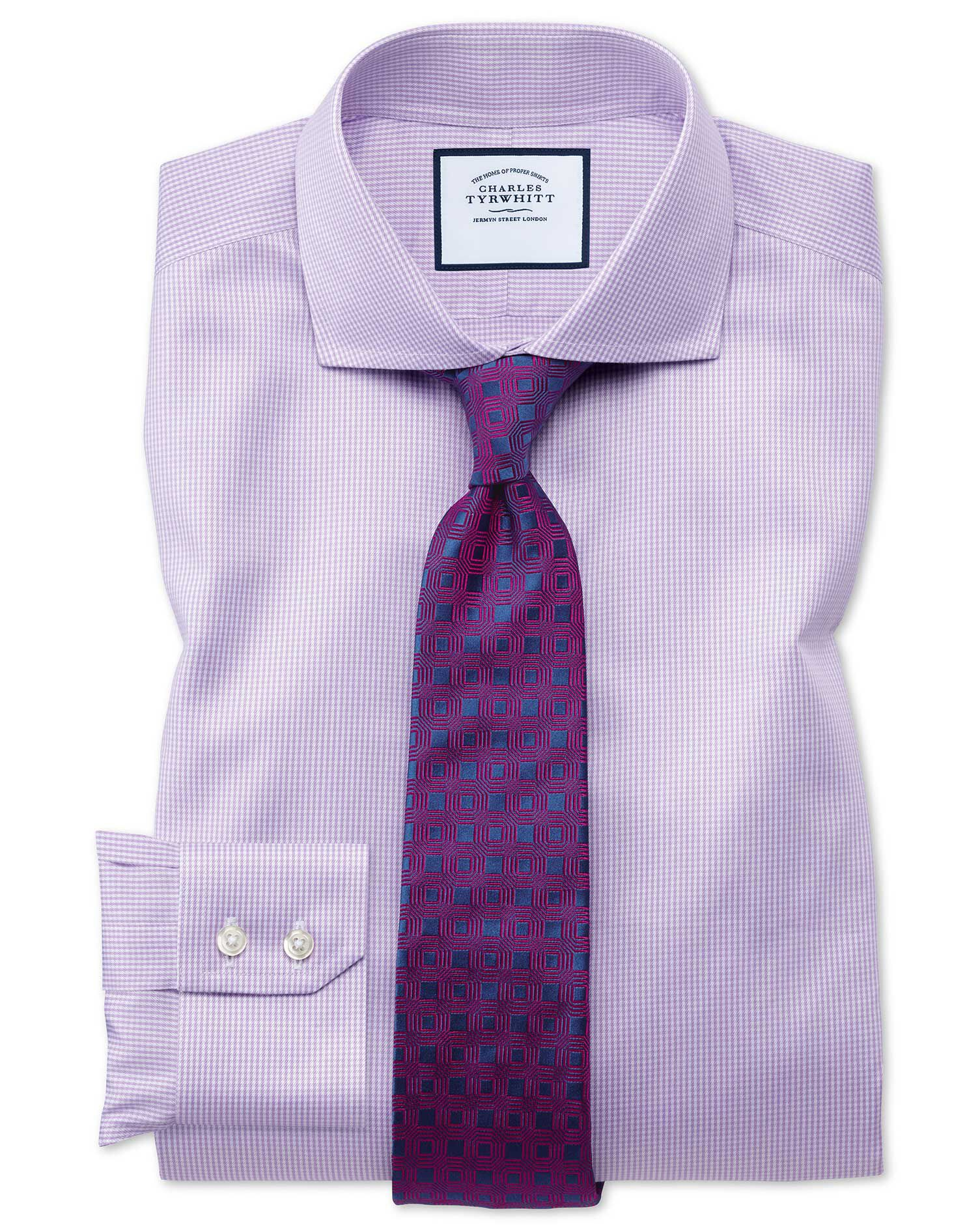 Extra Slim Fit Cutaway Non-Iron Puppytooth Lilac Cotton Formal Shirt Double Cuff Size 15.5/35 by Cha