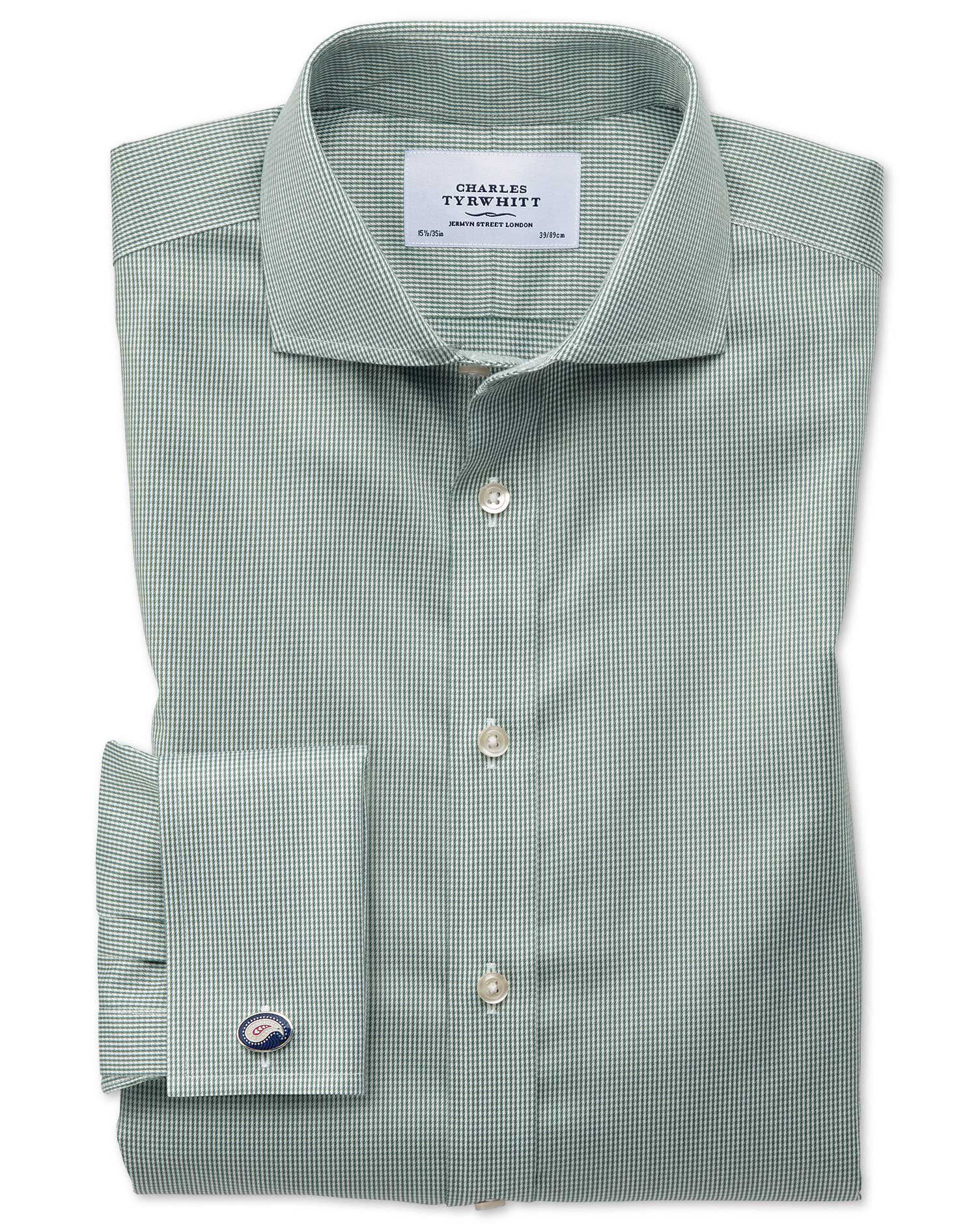 Extra Slim Fit Cutaway Non-Iron Puppytooth Olive Cotton Formal Shirt Single Cuff Size 15/32 by Charl