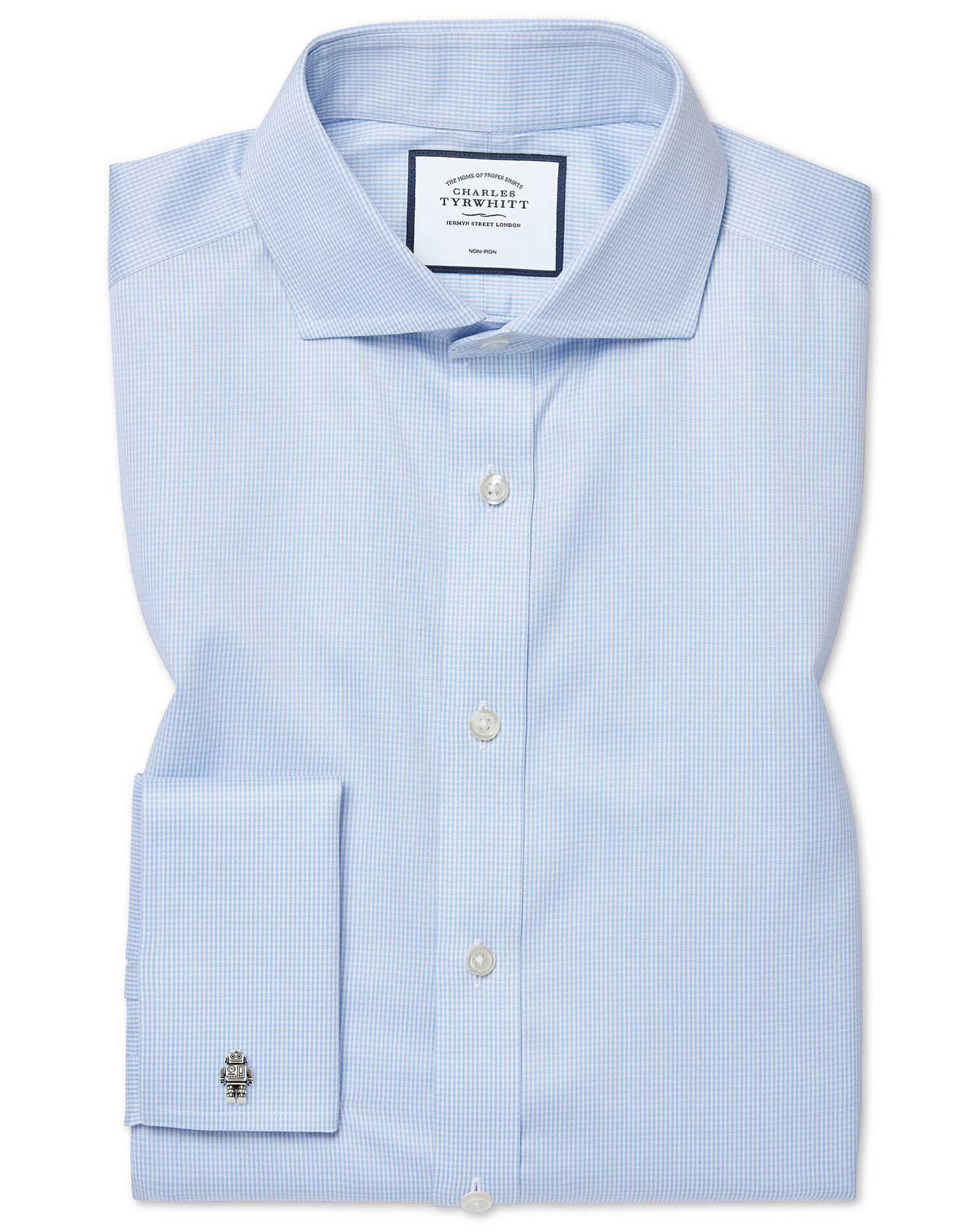 Extra Slim Fit Cutaway Collar Non-Iron Puppytooth Sky Blue Cotton Formal Shirt Double Cuff Size 16.5