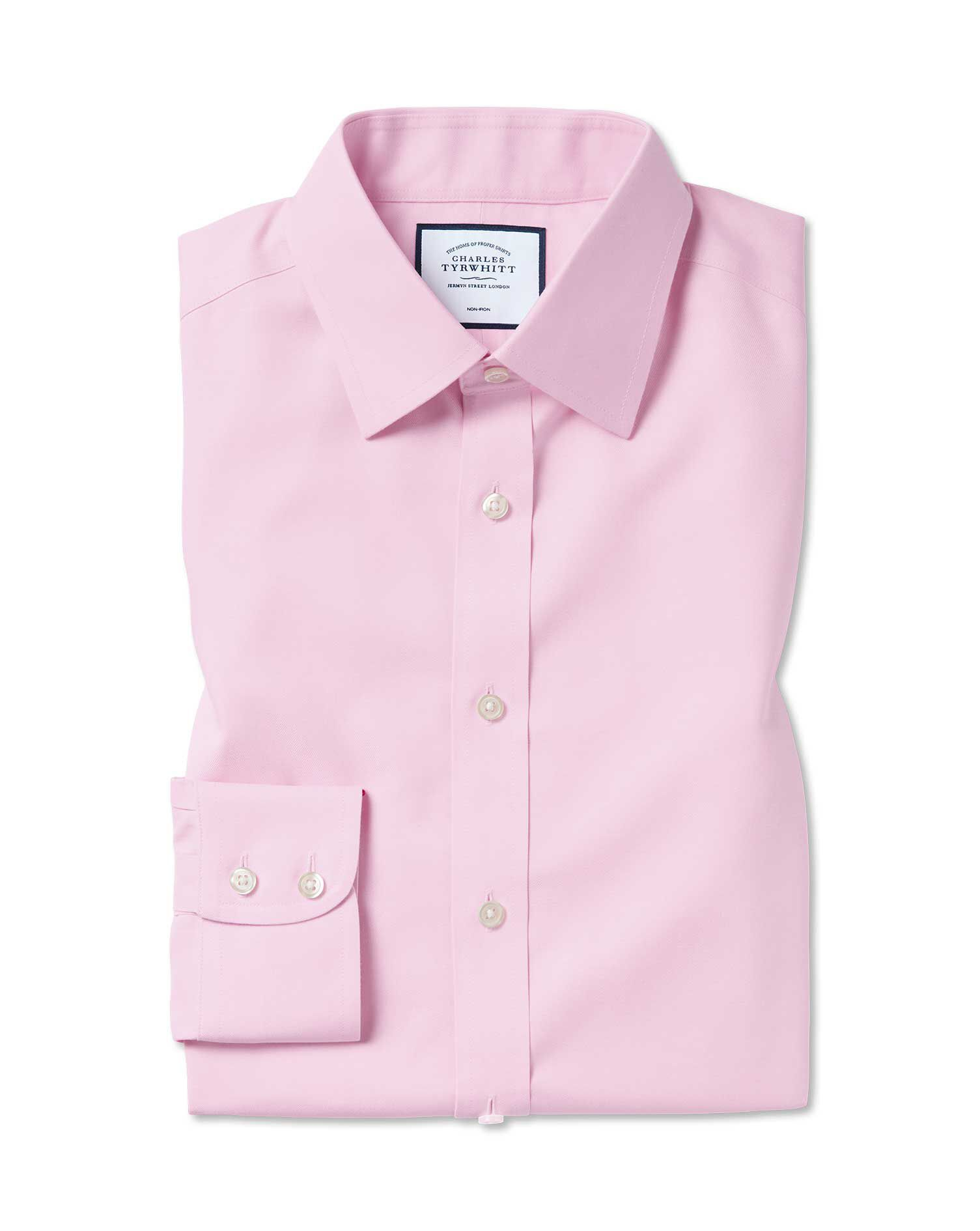Slim Fit Non-Iron Twill Pink Cotton Formal Shirt Single Cuff Size 15/32 by Charles Tyrwhitt