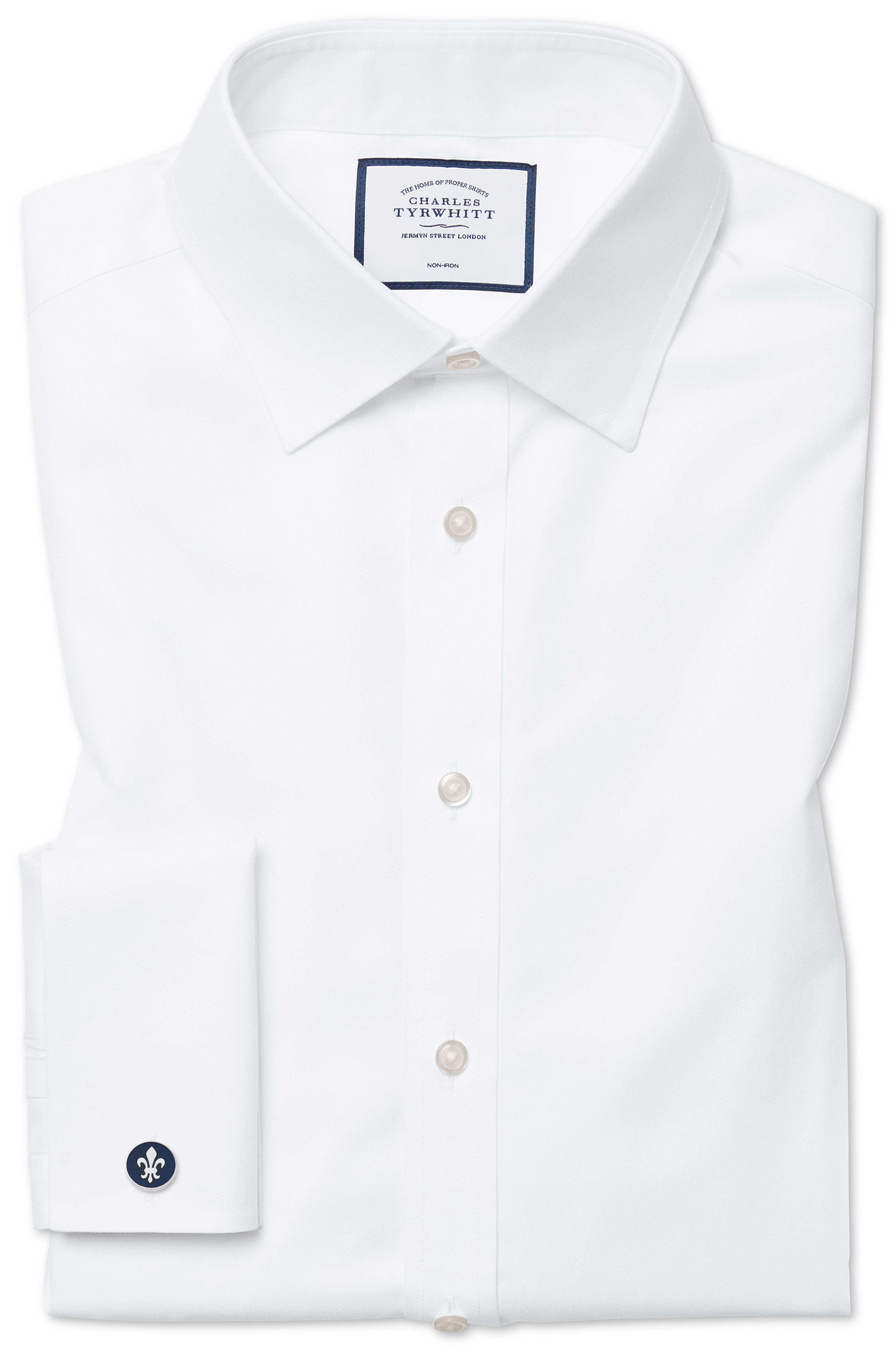 Slim Fit Non-Iron Twill White Cotton Formal Shirt Single Cuff Size 14.5/33 by Charles Tyrwhitt